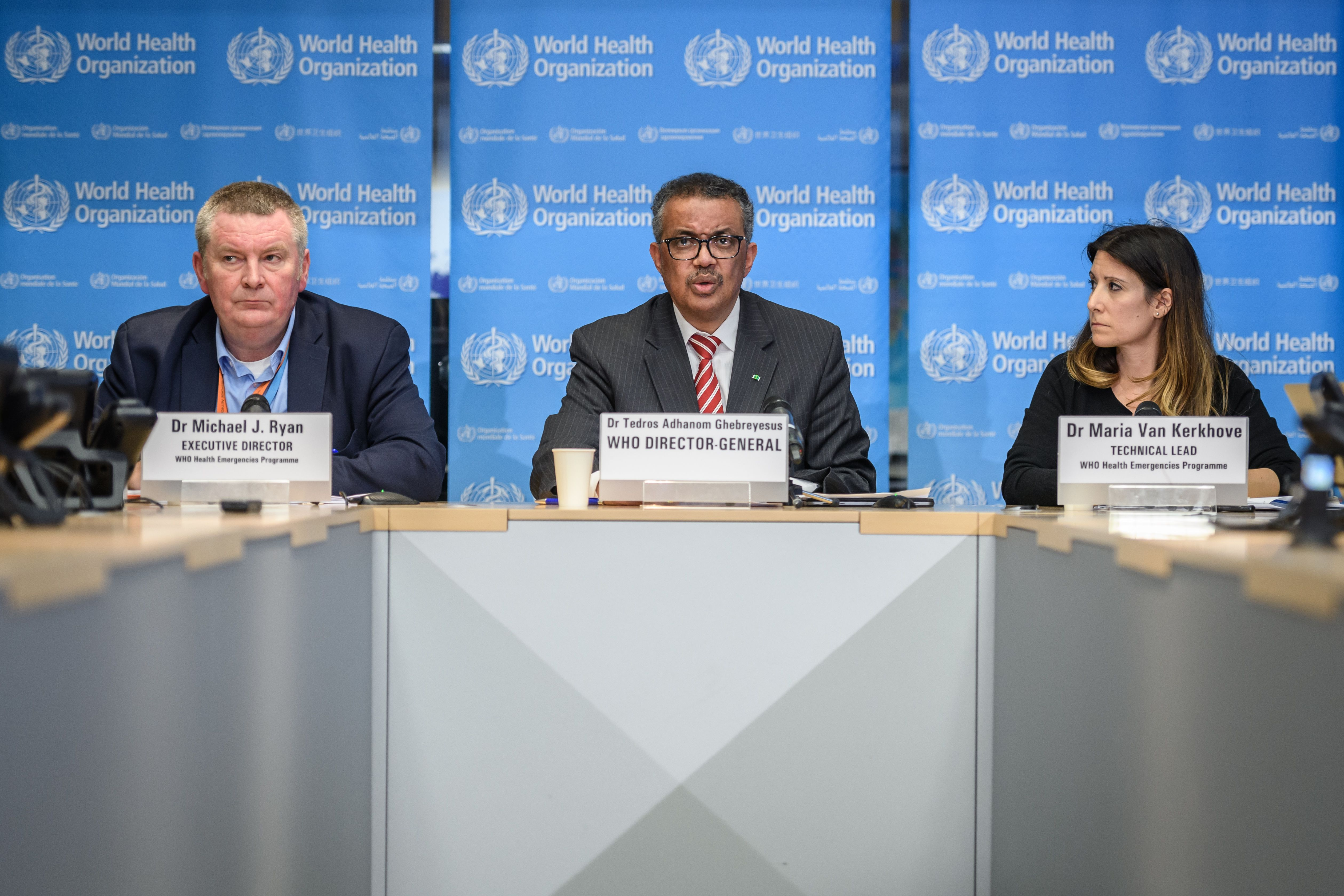 World Health Organization (WHO) Director-General Tedros Adhanom Ghebreyesus, center, speaks at a daily press briefing on coronavirus in Geneva, Switzerland, on Wednesday.