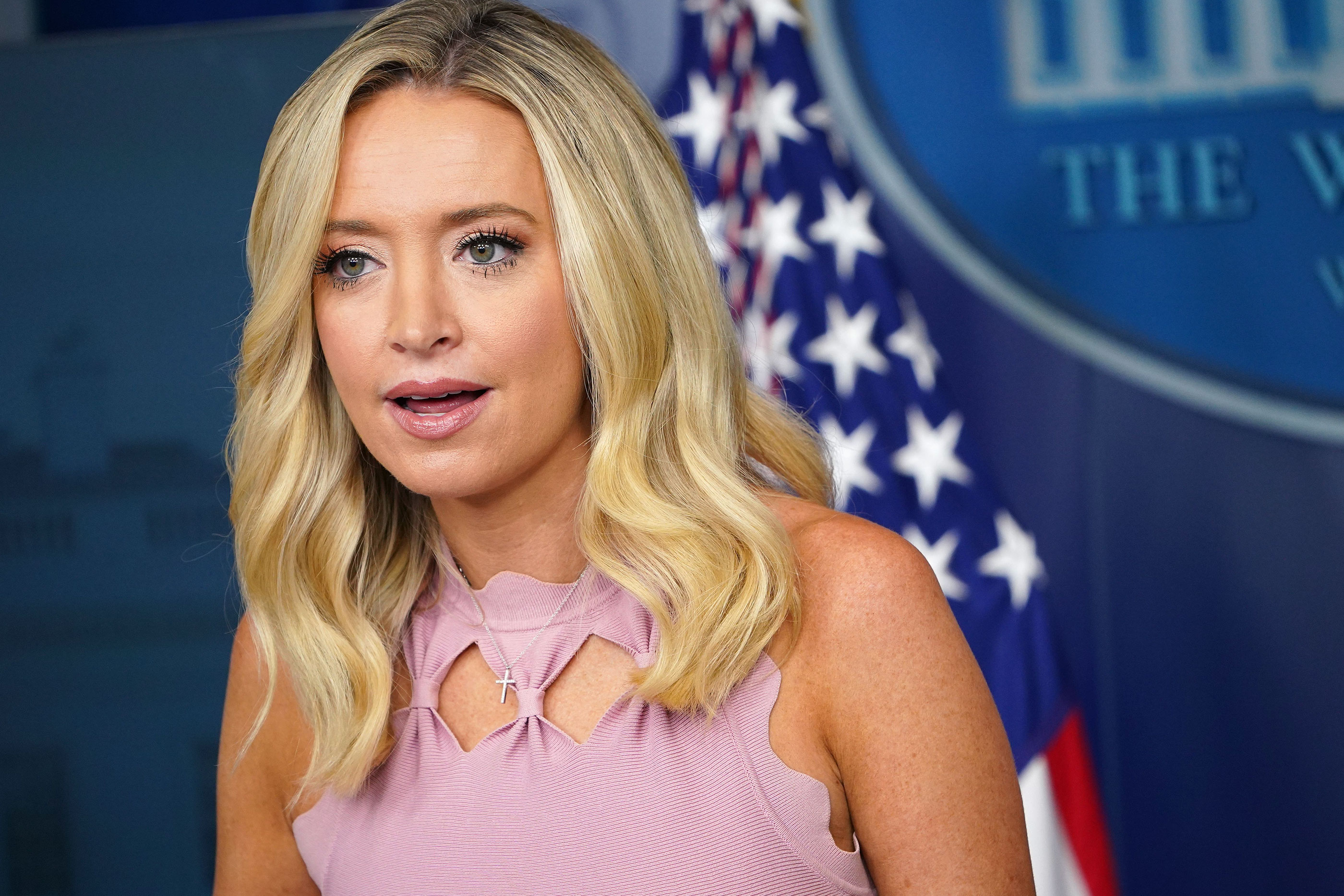 White House Press Secretary Kayleigh McEnany speaks during a briefing on August 31 in Washington, DC.