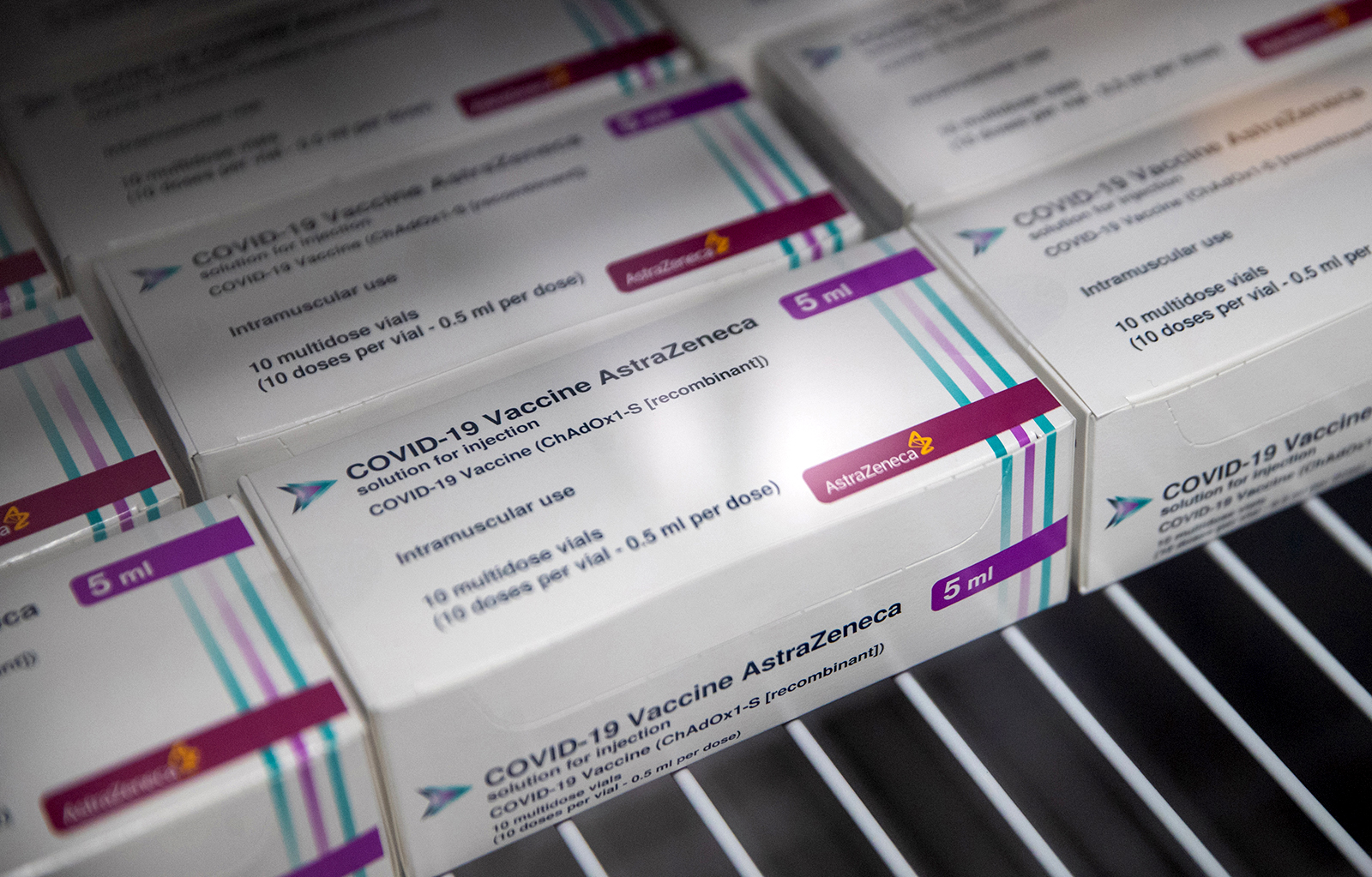 Boxes of vials of the AstraZeneca Covid-19 vaccine sit in a fridge at Ashton Gate Stadium in Bristol, England, on January 9.