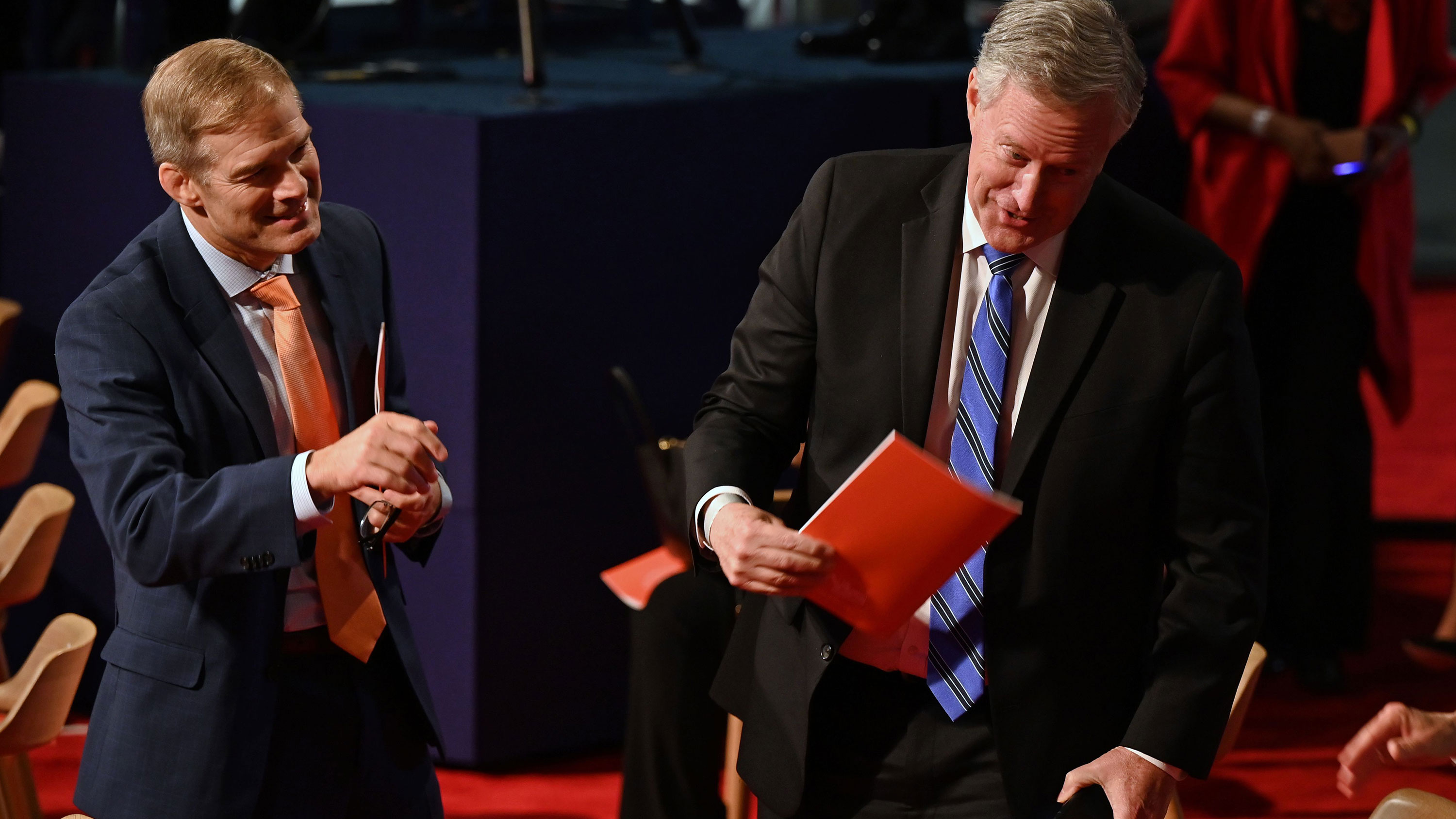 US Representative from Ohio Jim Jordan, left, and White House Chief of Staff Mark Meadows, right, are seen ahead of the first presidential debate in Cleveland, Ohio, on September 29.
