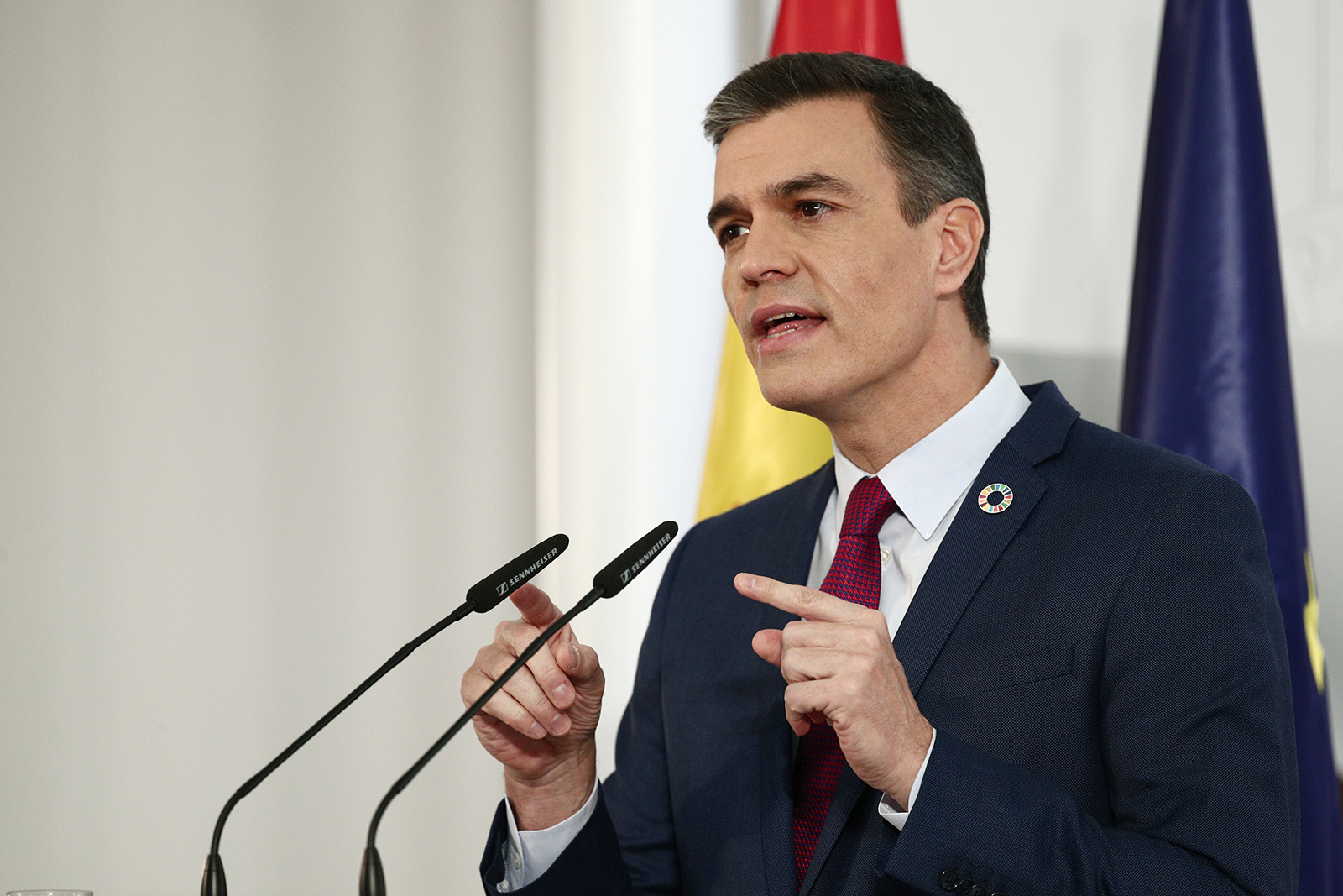 Spain's Prime Minister Pedro Sanchez speaks during a press conference in Madrid, on December 28.