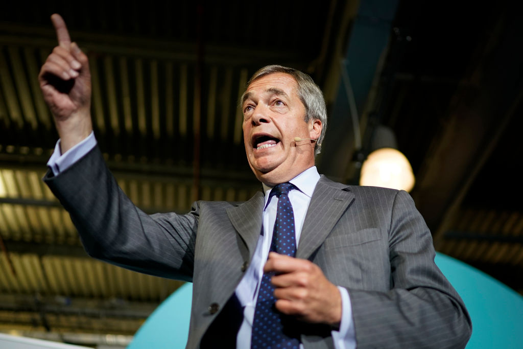 Nigel Farage at a Brexit Party rally last week.