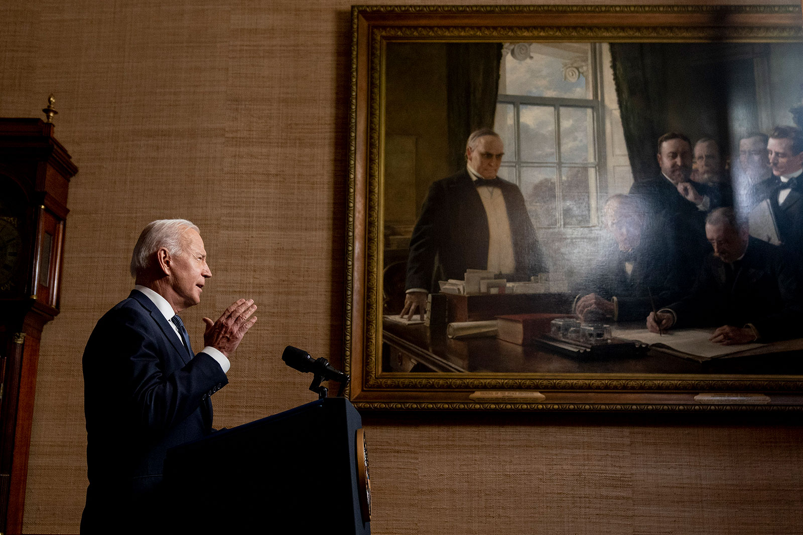 US President Joe Biden speaks from the White House Treaty Room on Wednesday, April 14, as he announces his decision towithdraw American troops from Afghanistan.
