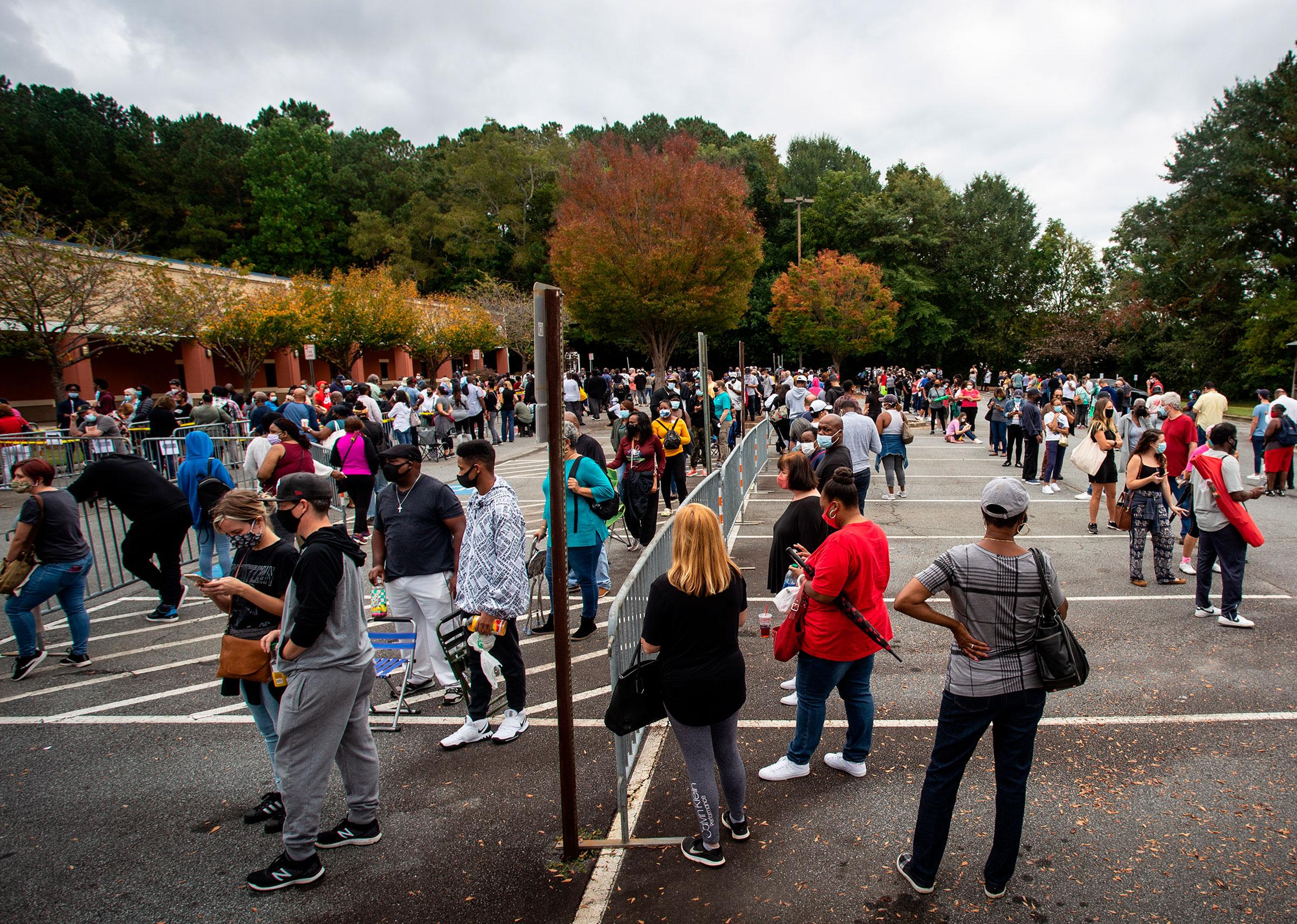 People in Marietta, Georgia, wait in line to vote on October 12.