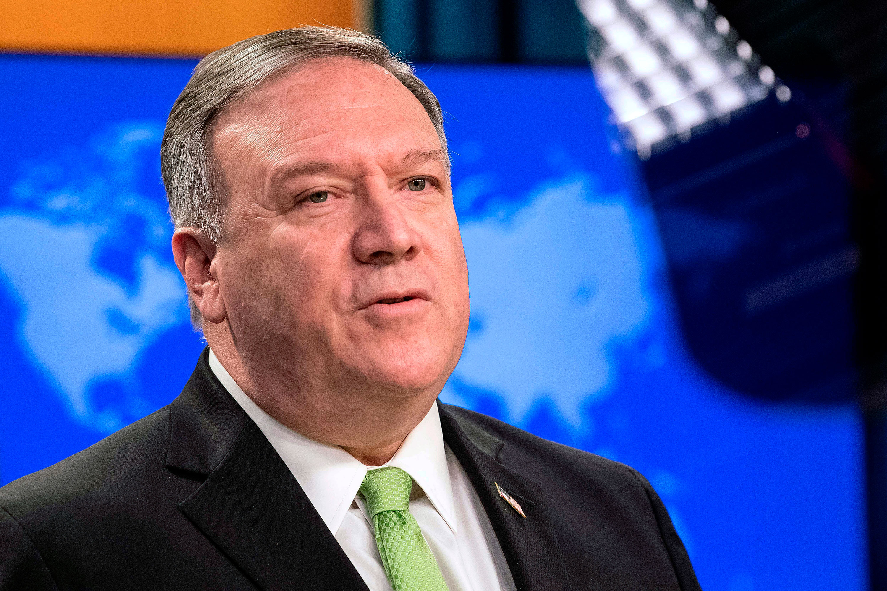 Secretary of State Mike Pompeo speaks on May 20.
