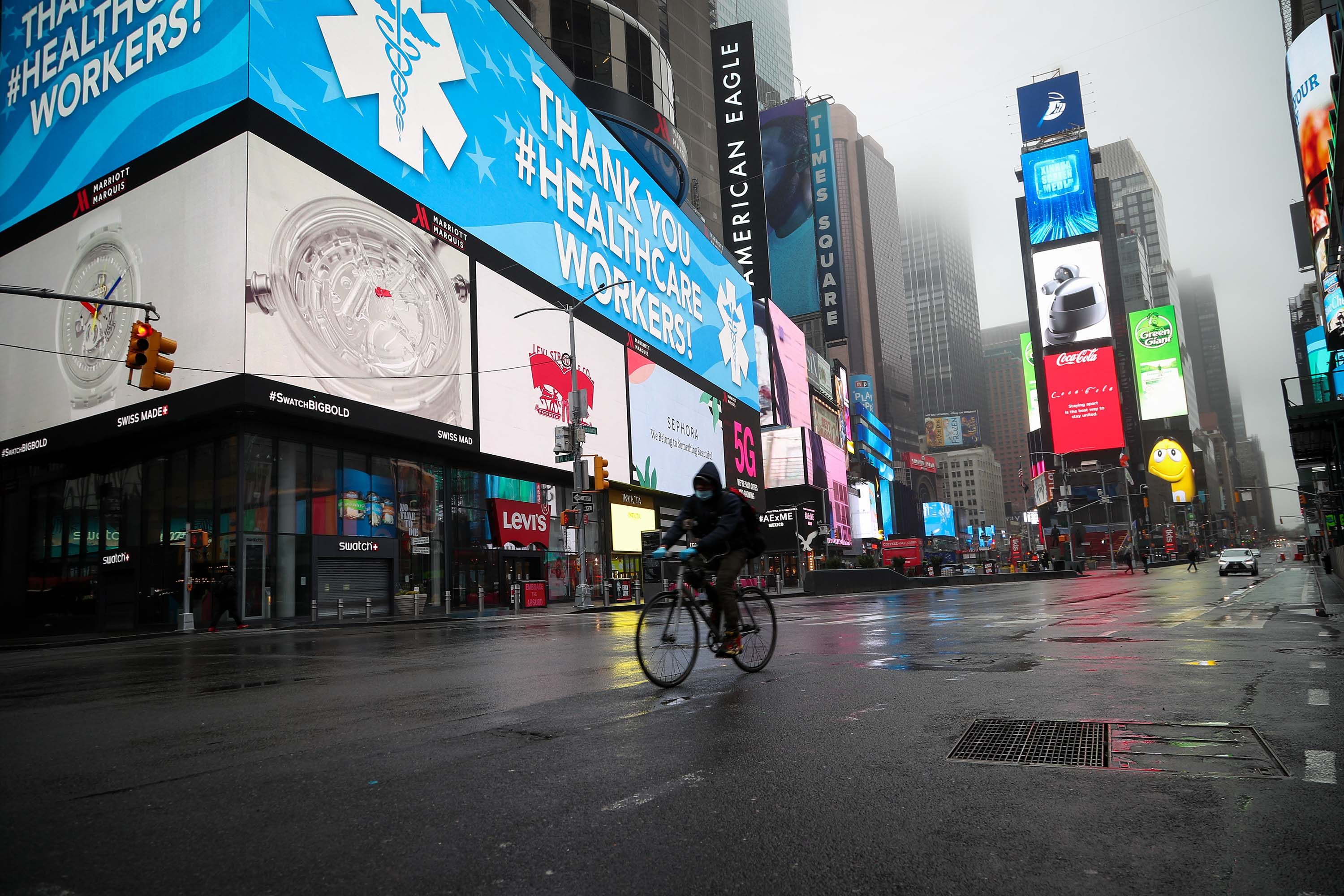 Time Square is pictured in New York on March 29.