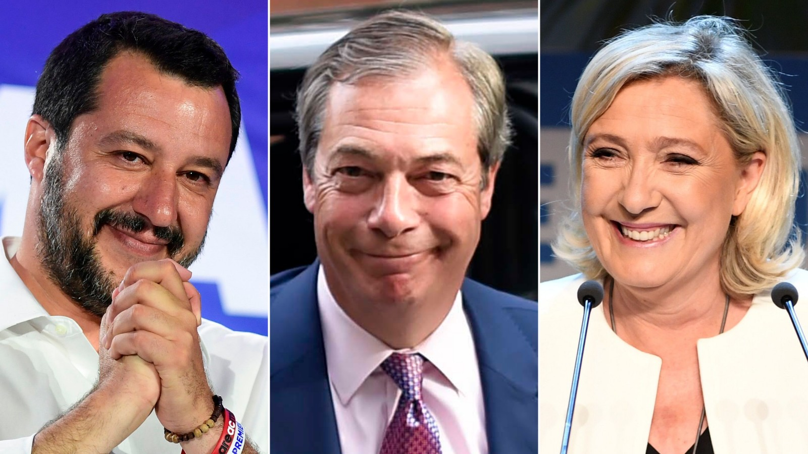 Italian Deputy Prime Minister Matteo Salvini, Brexit Party leader Nigel Farage and President of the National Rally, Marine Le Pen.