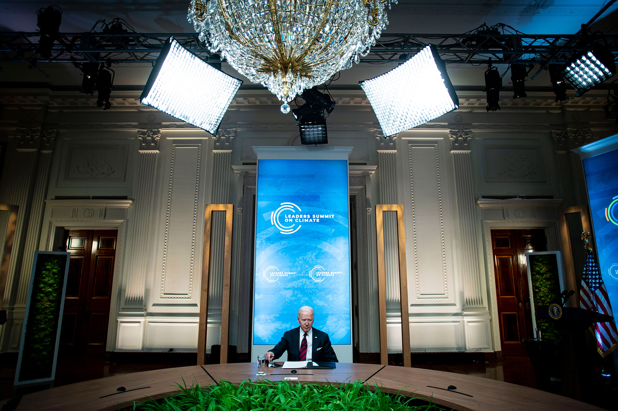 President Joe Biden listens during a virtual Leaders Summit on Climate at the White House on Thursday, April 22, in Washington.