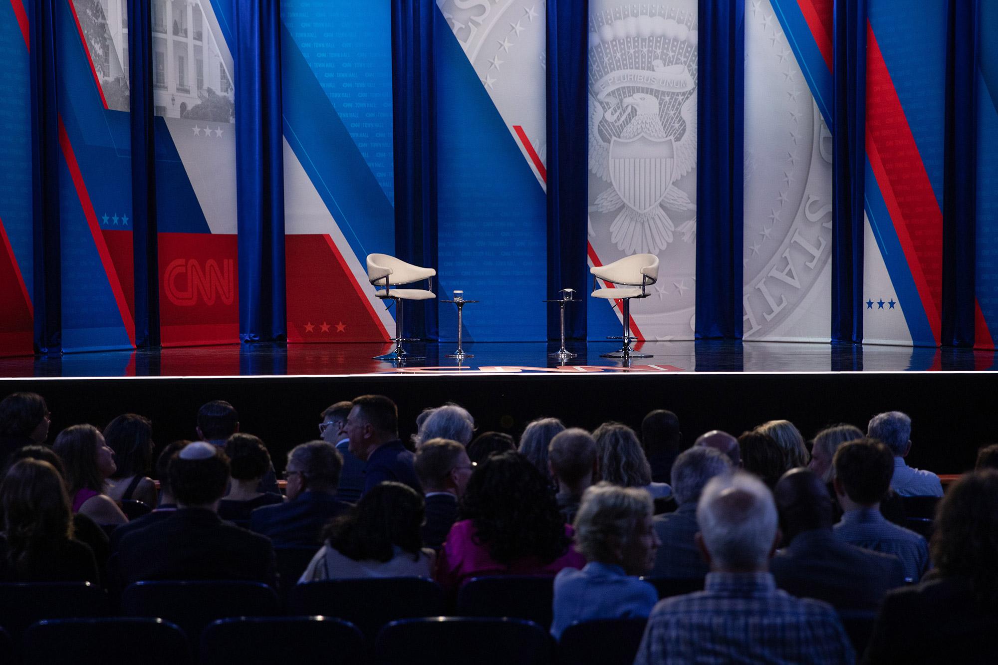 The stage is set for Biden's town hall at Mount St. Joseph University in Cincinnati, Ohio.