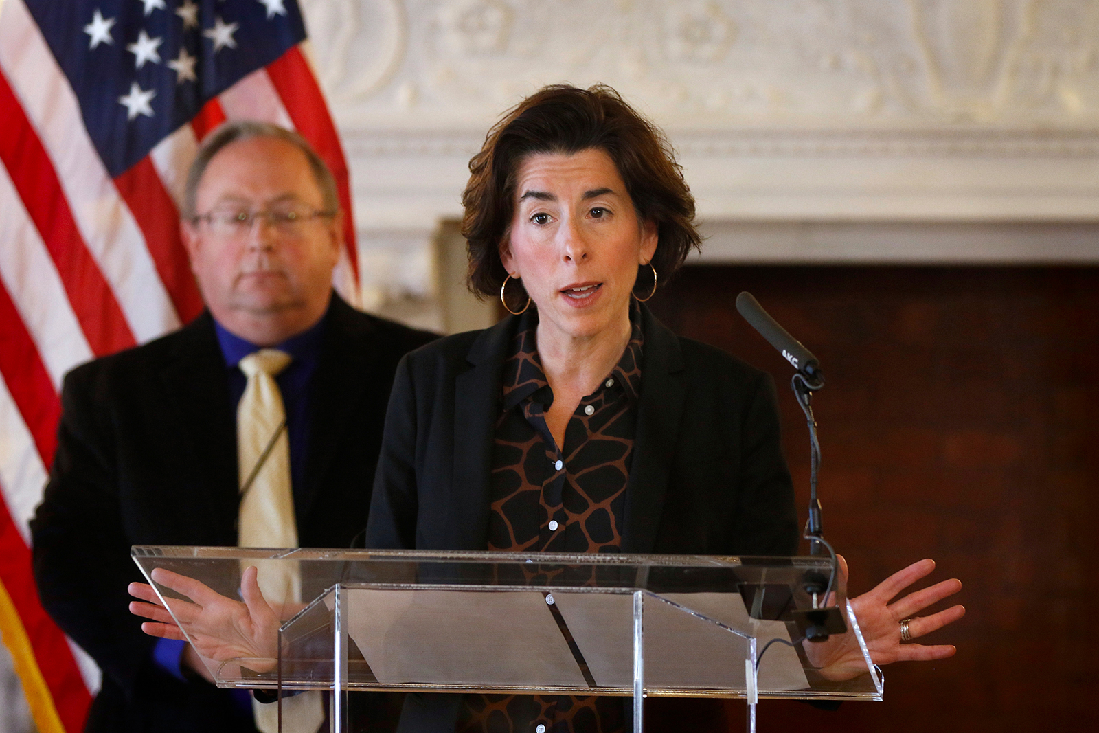 Gov. Gina Raimondo gives an update on the coronavirus during a news conference in this file photo, in Providence, Rhode Island, on March 22.