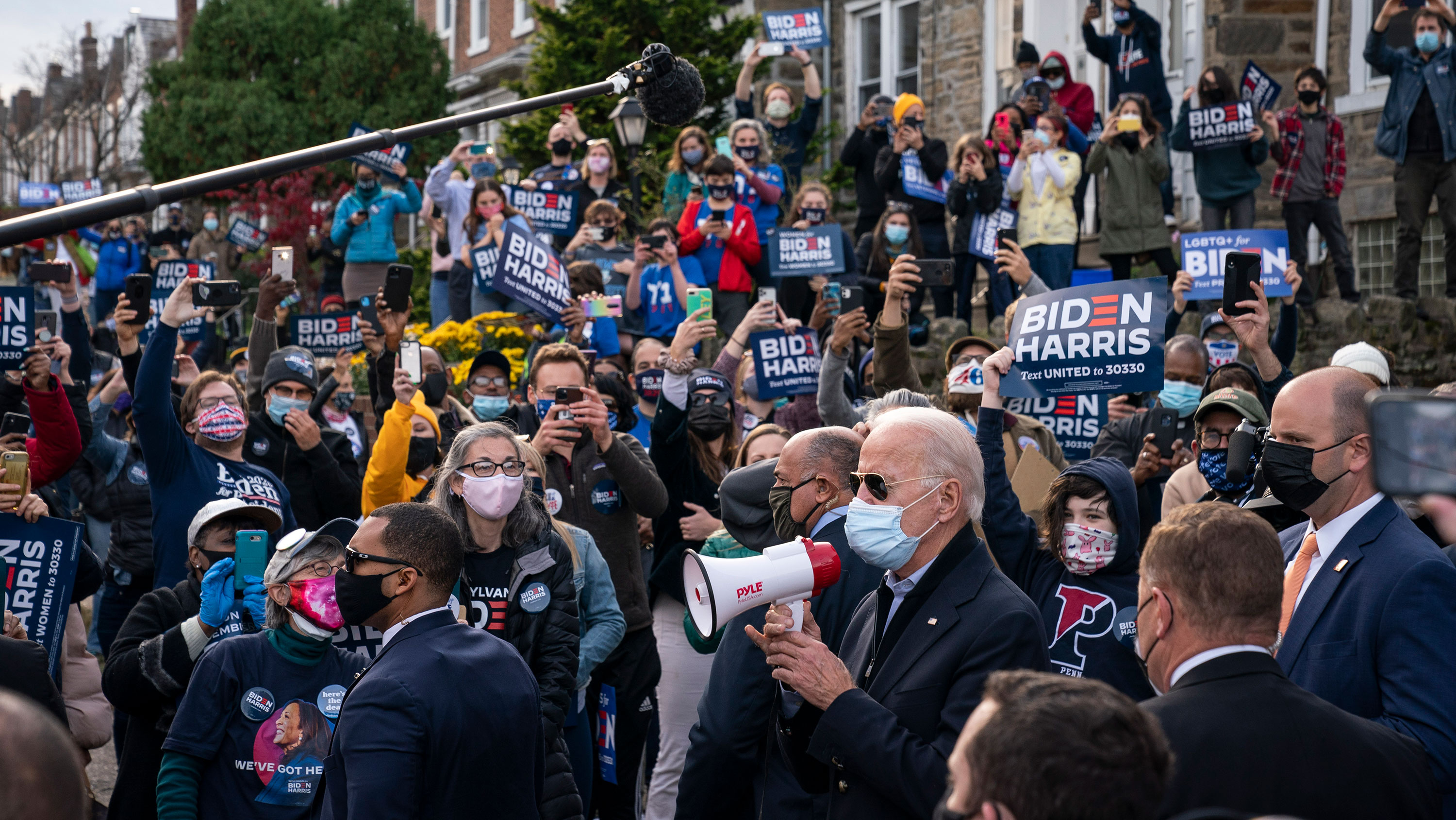 Democratic presidential nominee Joe Biden speaks to supporters on November 3 in Philadelphia, Pennsylvania.