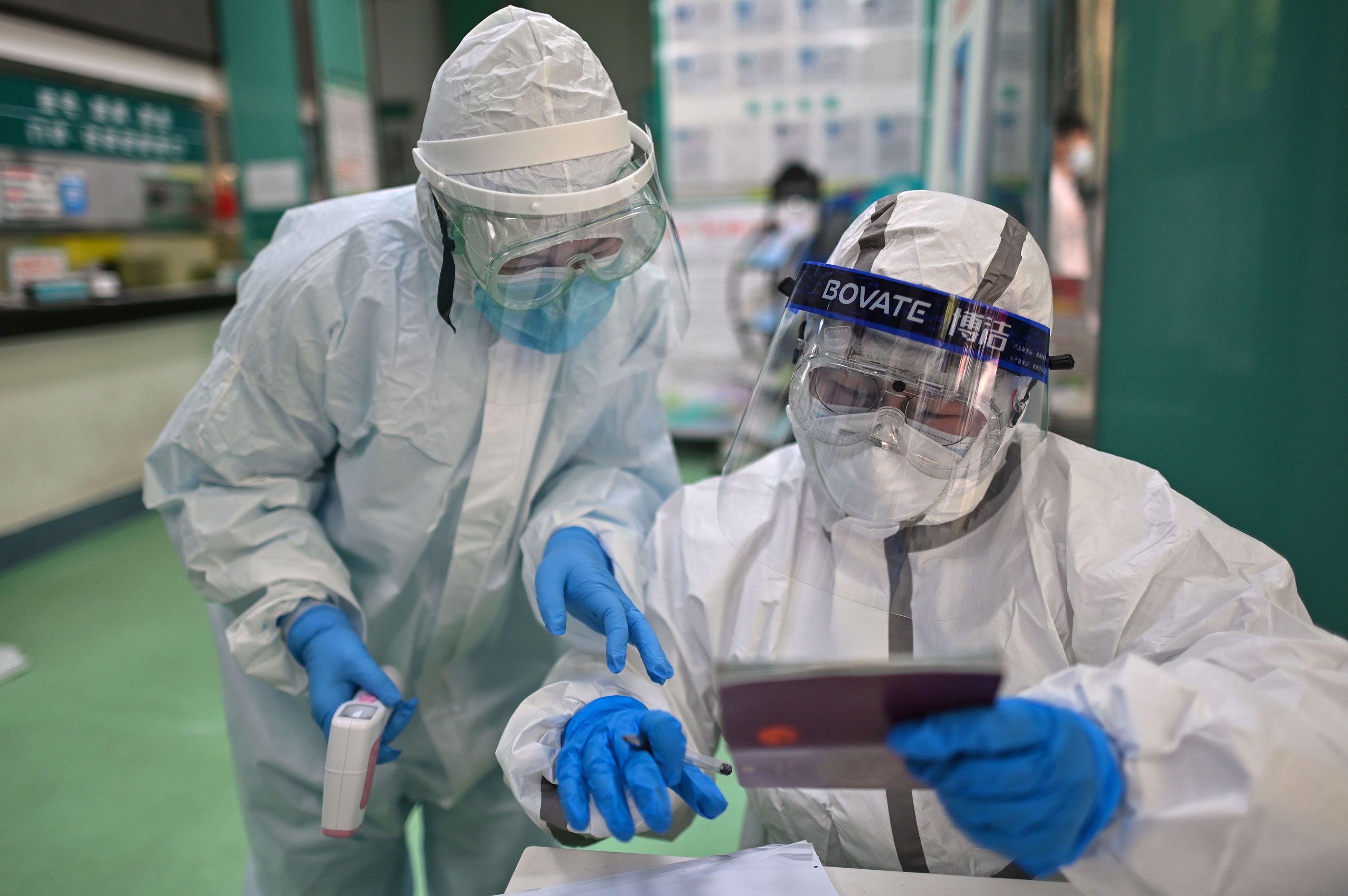 Medical personnel work at a coronavirus testing site on April 16 in Wuhan, China.
