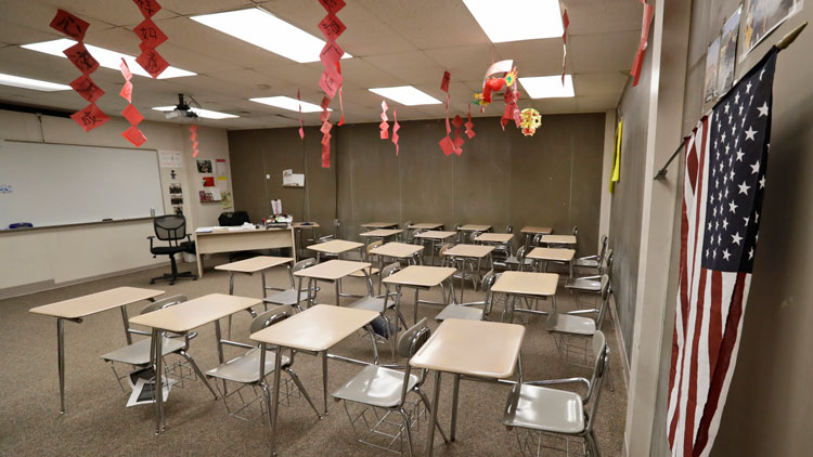 The empty world language room is shown at Orange High School on Thursday, March 12, in Pepper Pike, Ohio.