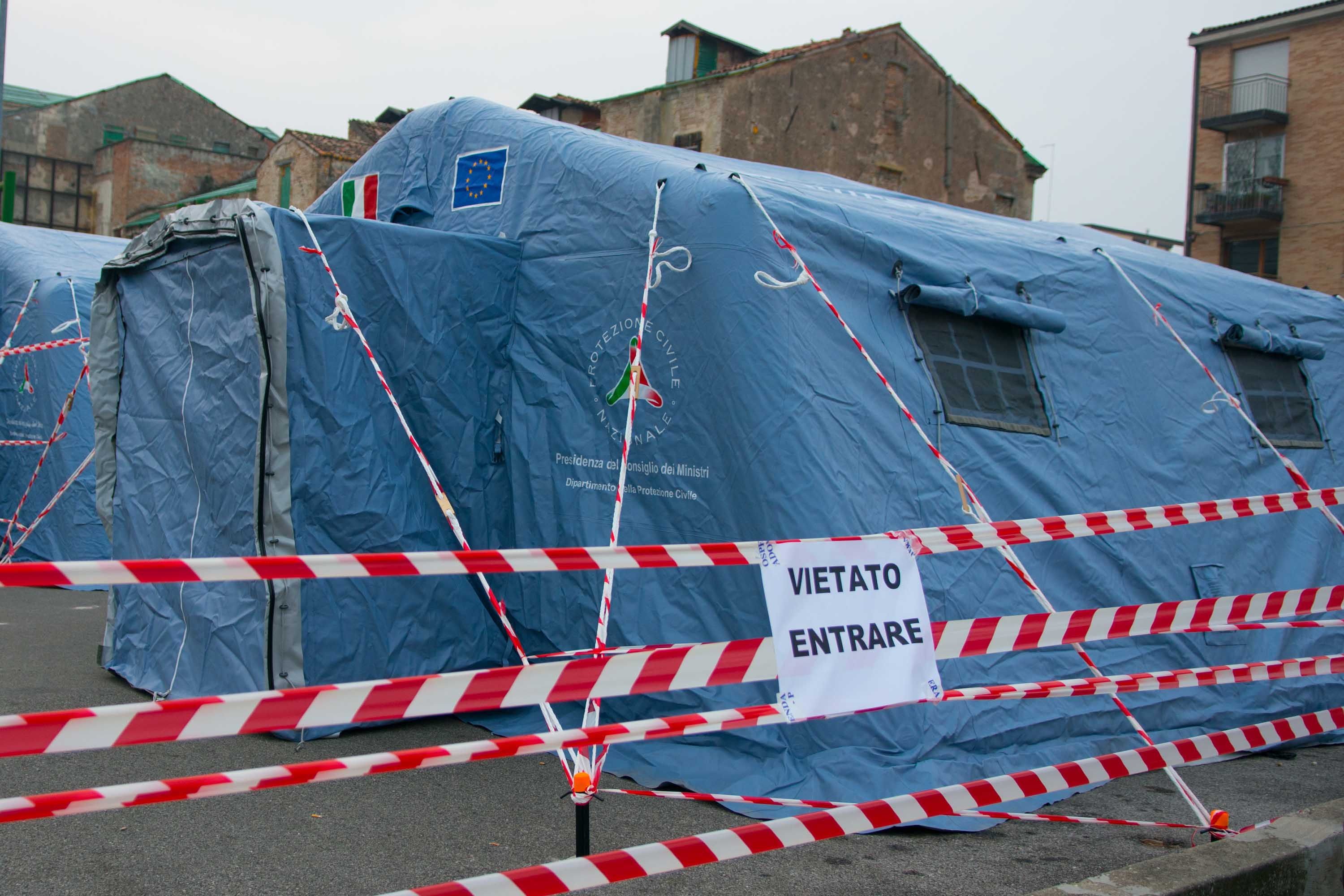 A view of tents prepared for coronavirus patients at a hospital in Padova, Italy, on Monday.