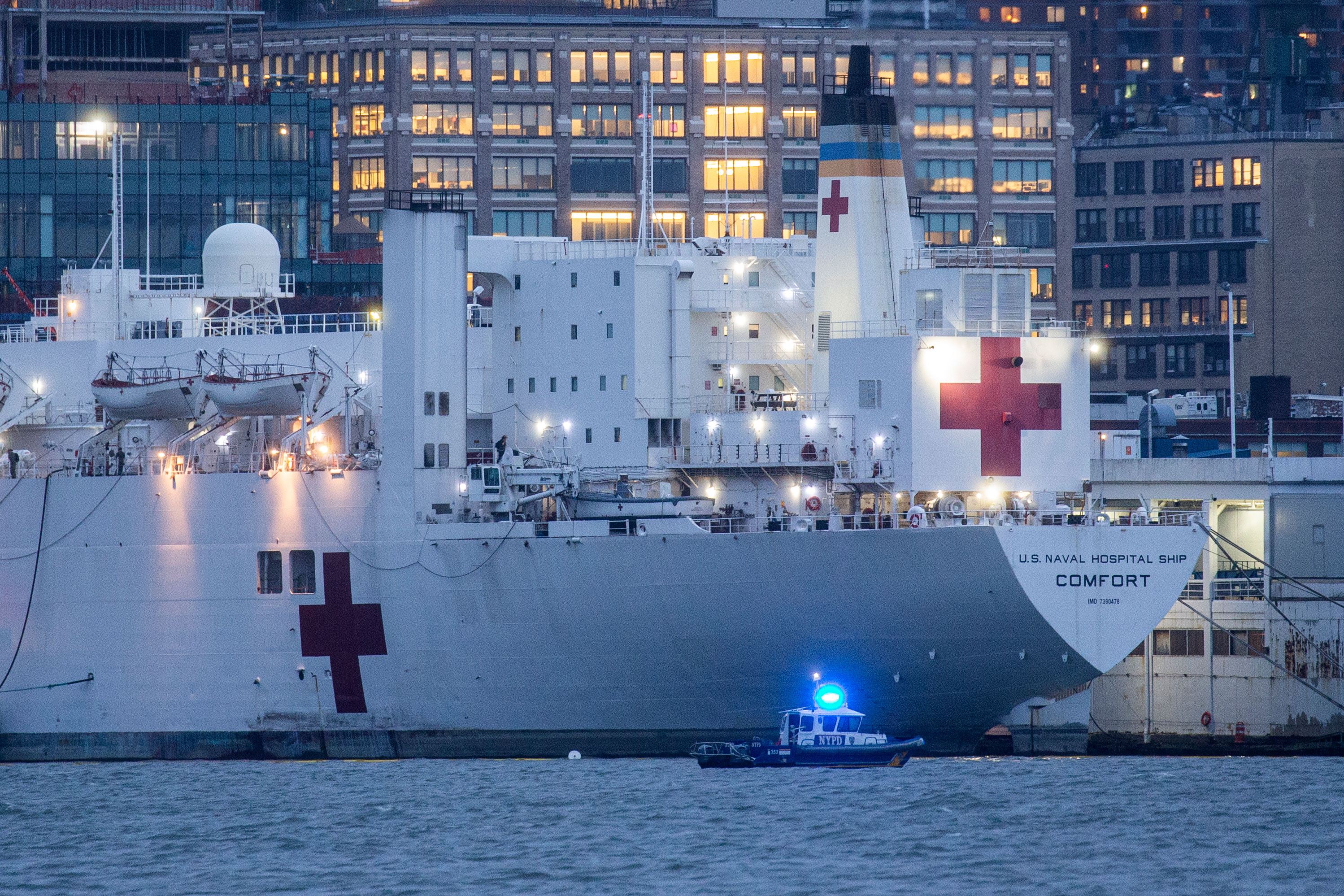 The USNS Comfort is docked at Pier 90 on April 3 in New York City.