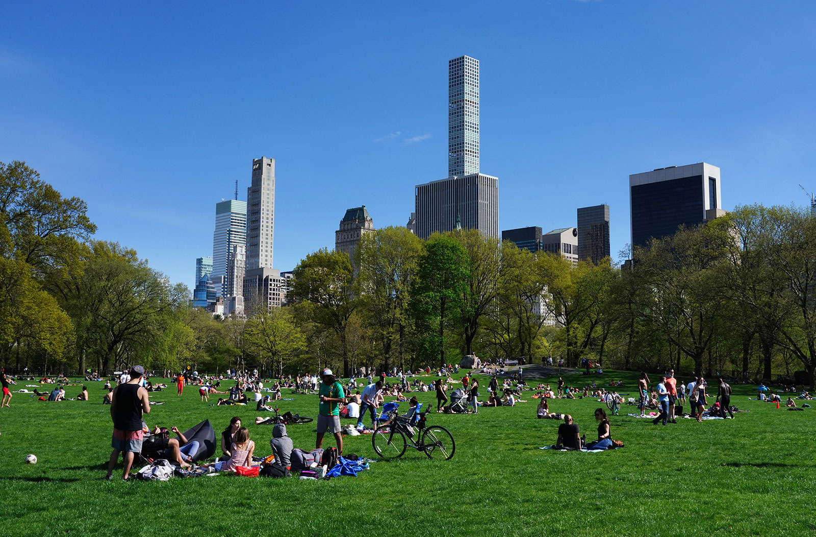 People gather in Central Park on May 2.