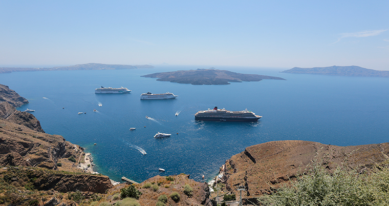 Cruise ships sail in waters off Santorini, Greece in this 2015 file photo.
