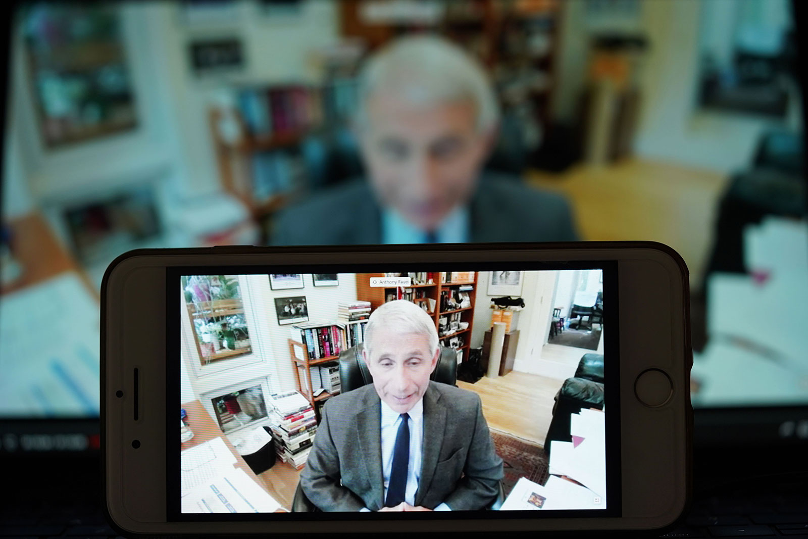 Dr. Anthony Fauci, director of the National Institute of Allergy and Infectious Diseases, speaks during a teleconference hearing hosted by a Senate panel on the White House's response to the coronavirus in Washington on May 12.
