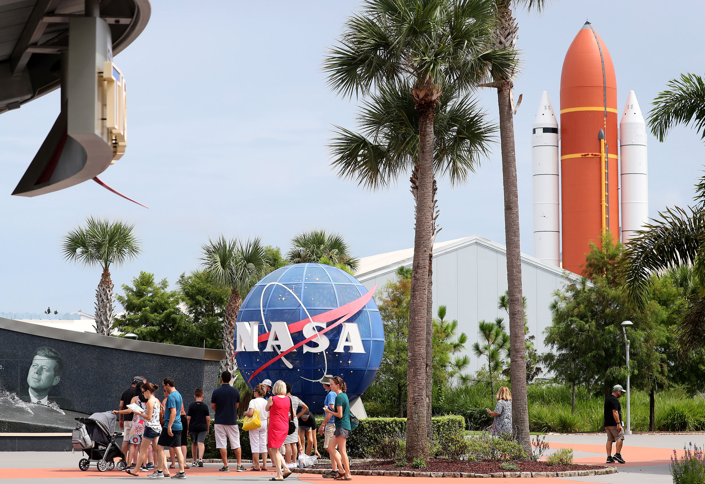 People visit the Kennedy Space Center Visitor Complex in Cape Canaveral, Florida, in August 2019.