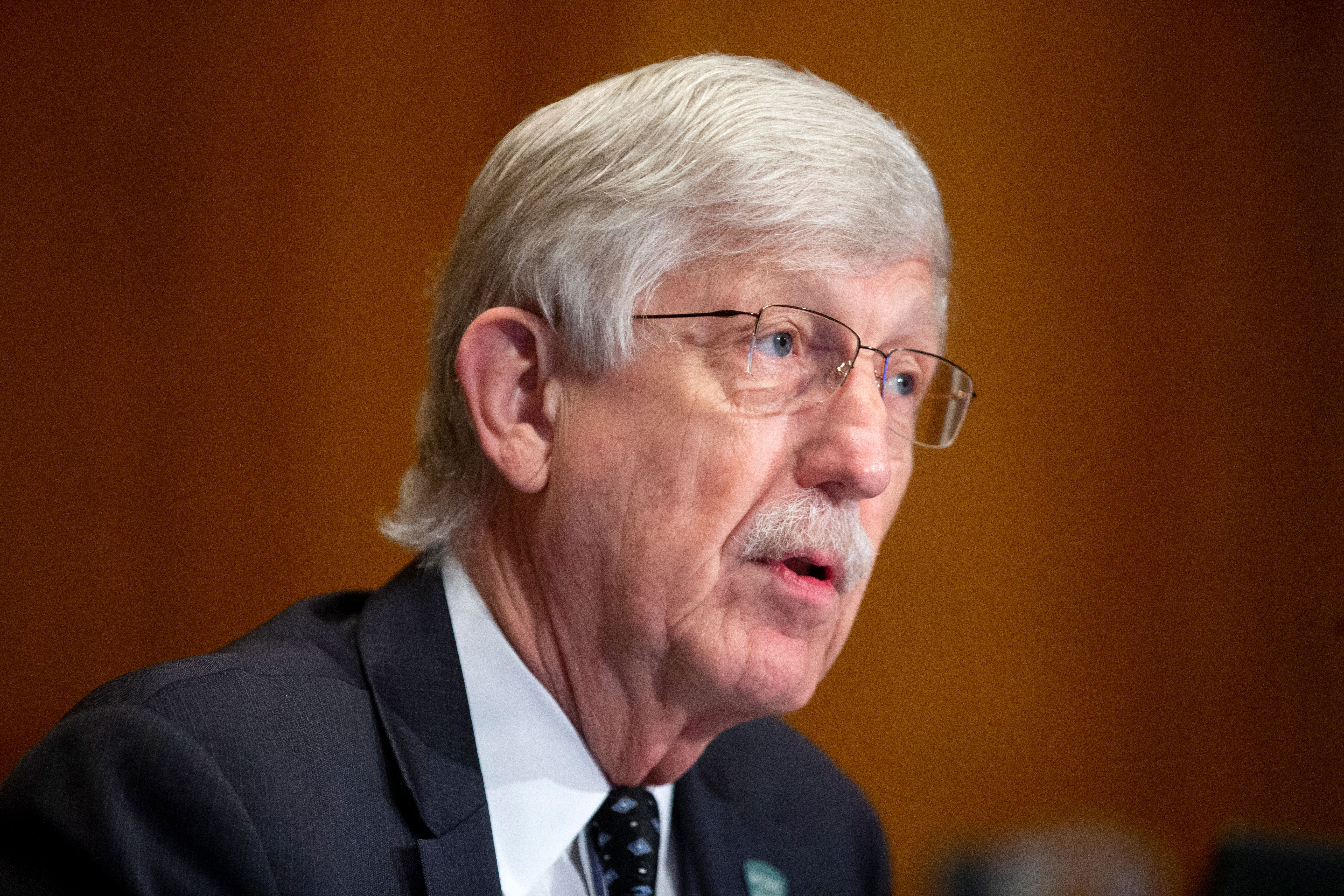 Dr. Francis Collins, director of the National Institutes of Health, listens during a hearing in Washington, DC, on September 9, 2020.