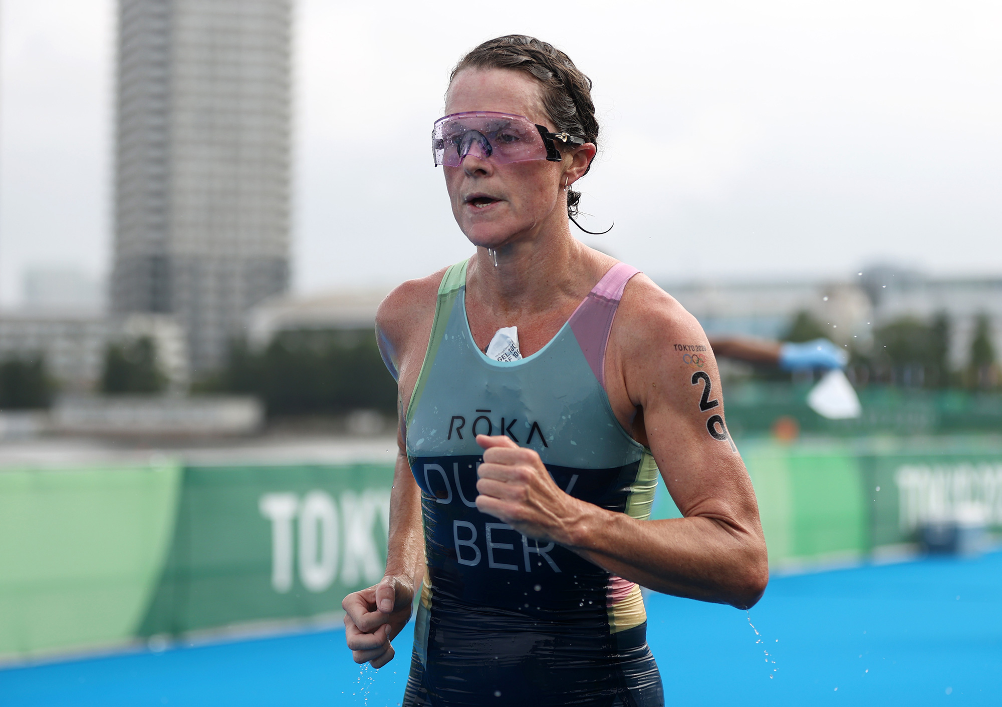 Bermuda's Flora Duffy competes during the Women's Individual Triathlon on July 27.