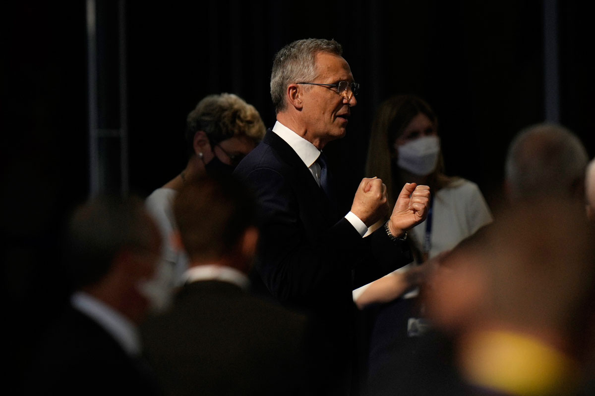 NATO Secretary General Jens Stoltenberg speaks to the press at the NATO headquarters in Brussels, Belgium on June 14.