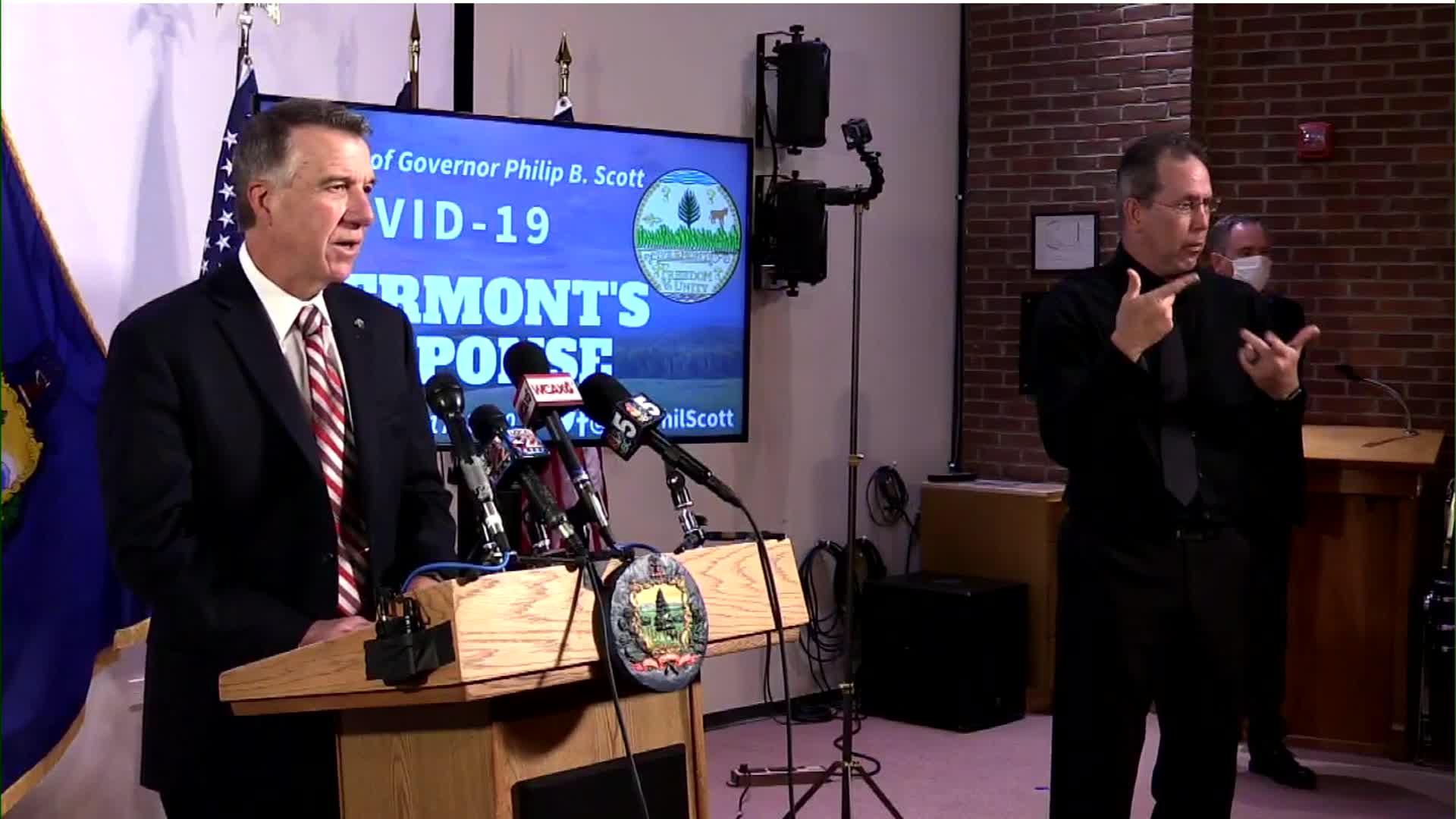 Vermont Gov. Phil Scott speaks during a press briefing in Montpelier, Vermont, on July 17.