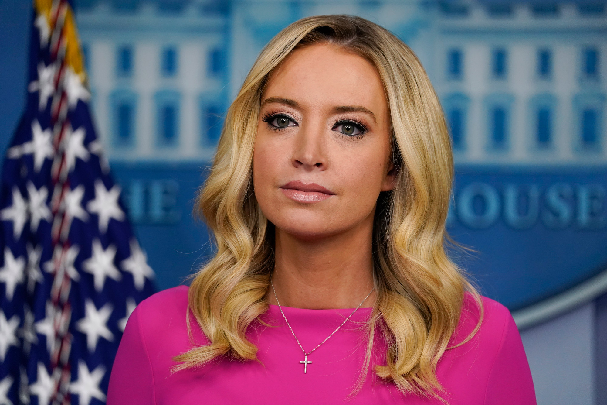 White House press secretary Kayleigh McEnany listens during a briefing at the White House on December 2 in Washington, DC.