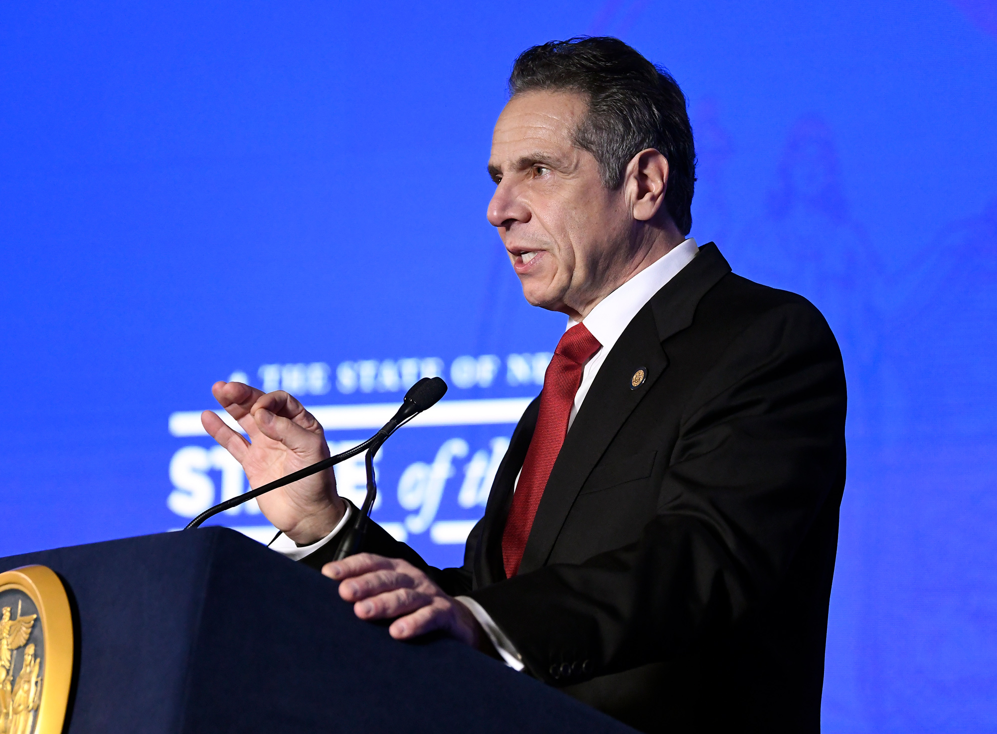 New York Gov. Andrew Cuomo delivers his State of the State address virtually from The War Room at the state Capitol on January 11 in Albany, New York.
