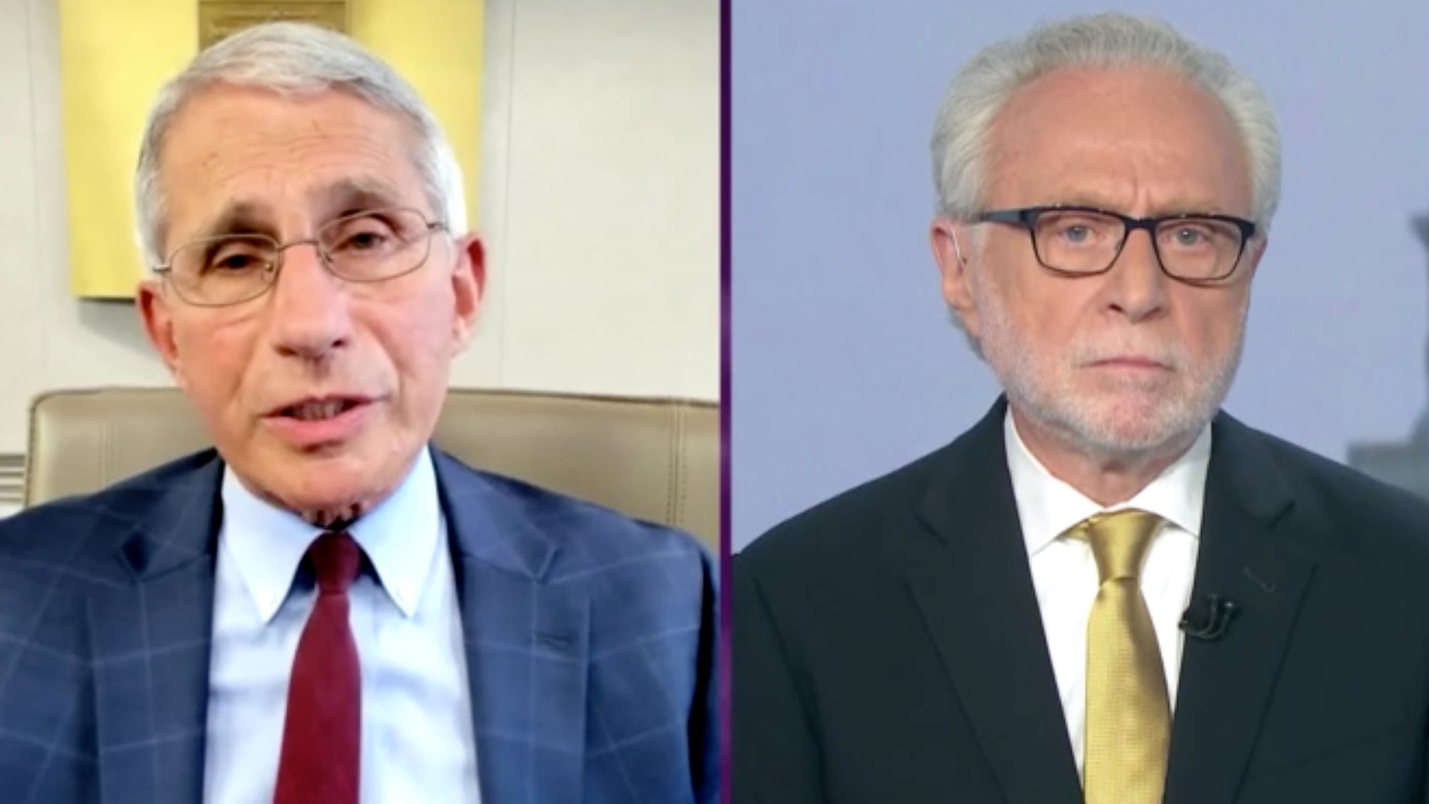 Dr. Anthony Fauci and CNN's Wolf Blitzer on The Situation Room.