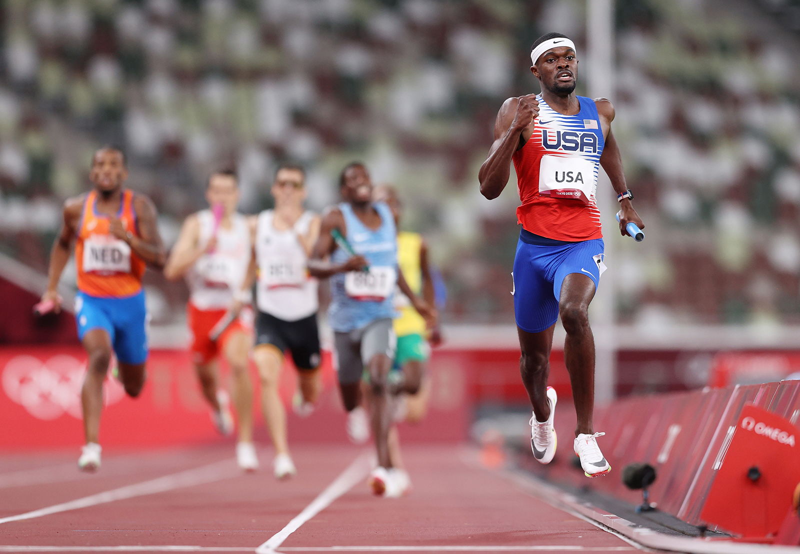 Rai Benjamin of Team United States competes in the Men's 4 x 400m Relay Final on day fifteen of the Tokyo 2020 Olympic Games at Olympic Stadium on August 7, in Tokyo.