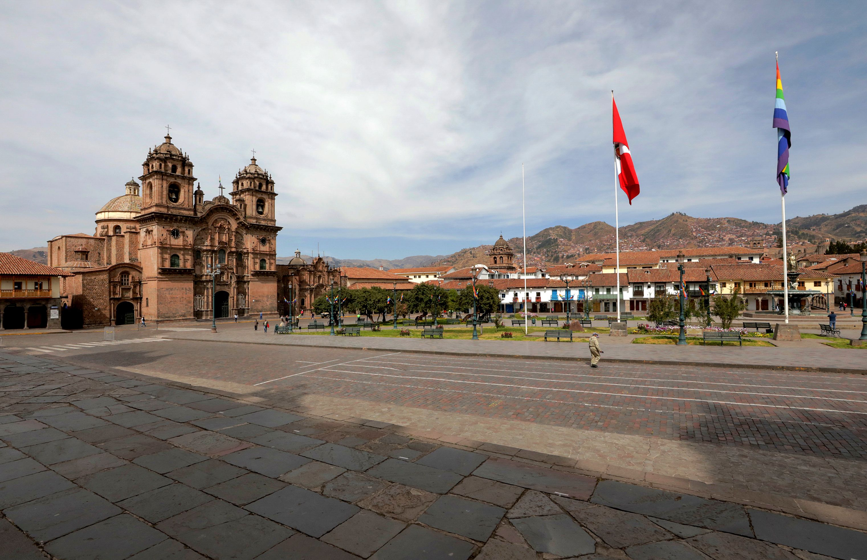 The empty main square in Cuzco, Peru, is seen on June 24, where only a symbolic version of an ancient Inca ritual took place as part of the traditional Sun Festival. The festival normally brings together over 80,000 people every year, but this year it took place without audience due to restrictions amid the pandemic.