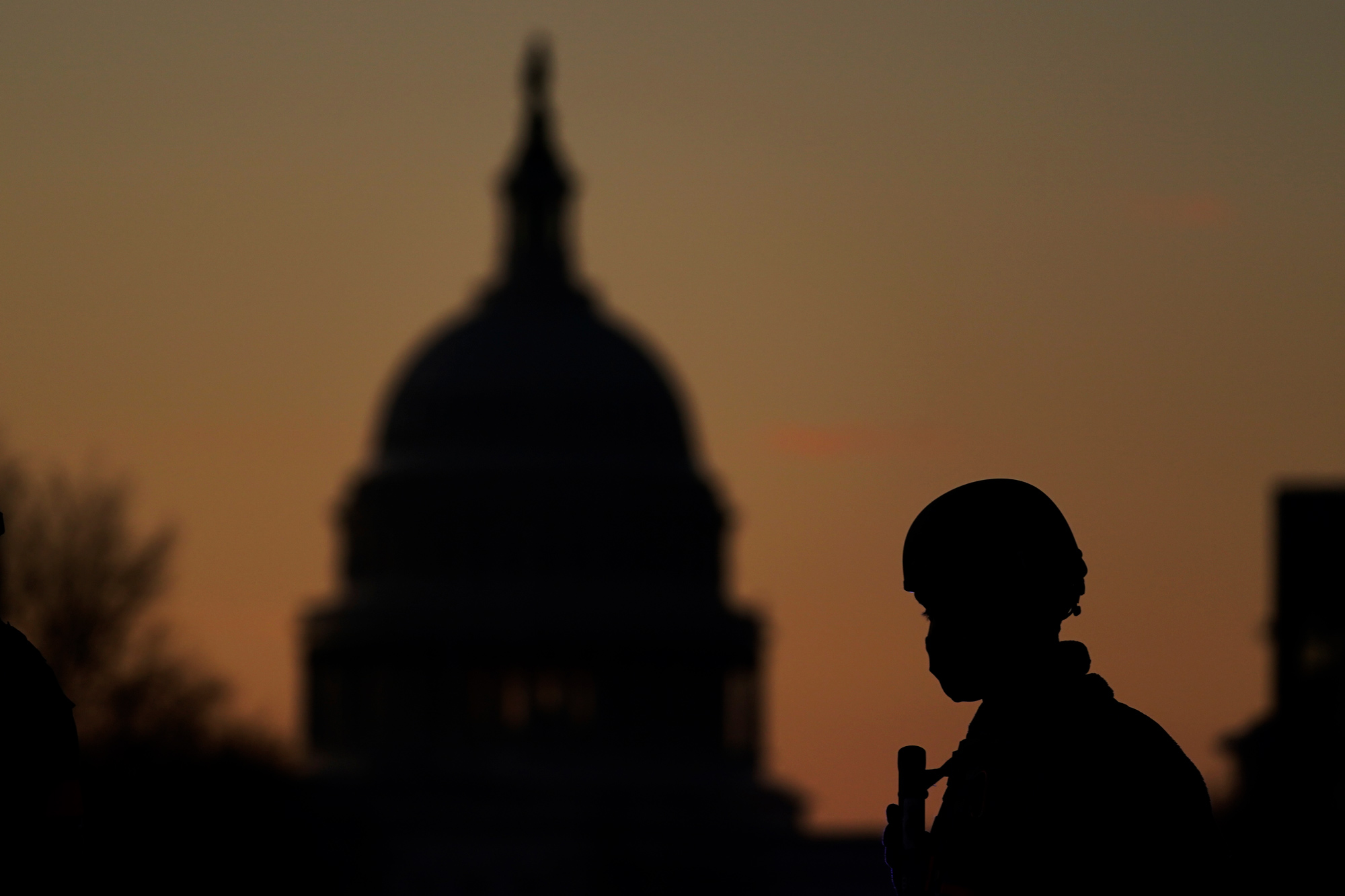 A National Guard patrols a road block near the Capitol on January 19 in Washington, DC.