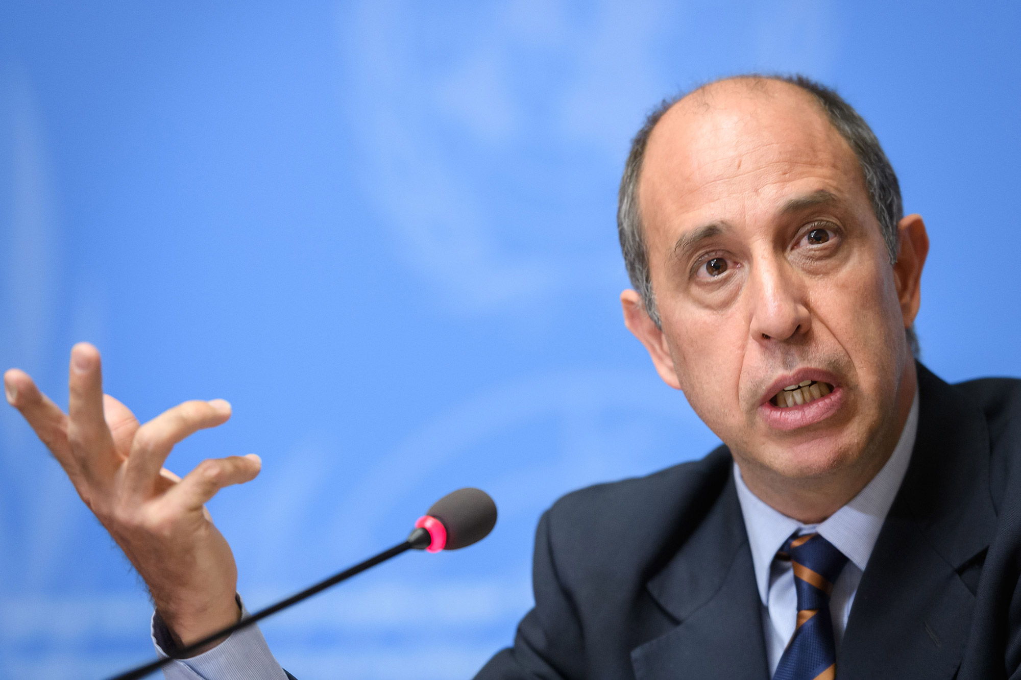 UN Special Rapporteur Tomás Ojea Quintana speaks at a press conference in Geneva in March.