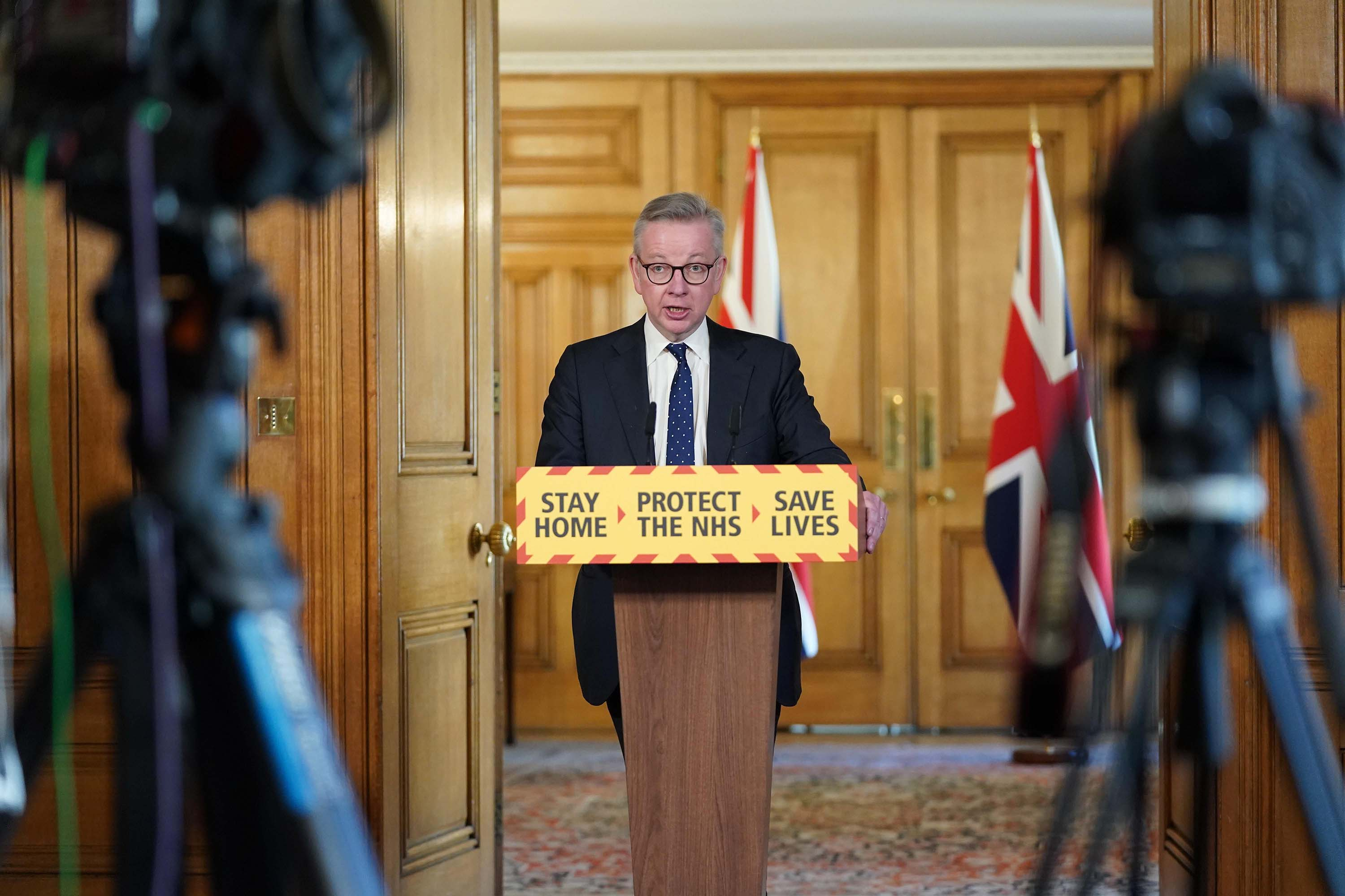 Minister for the Cabinet Office Michael Gove holds a digital press conference about coronavirus developments on April 4 in London.