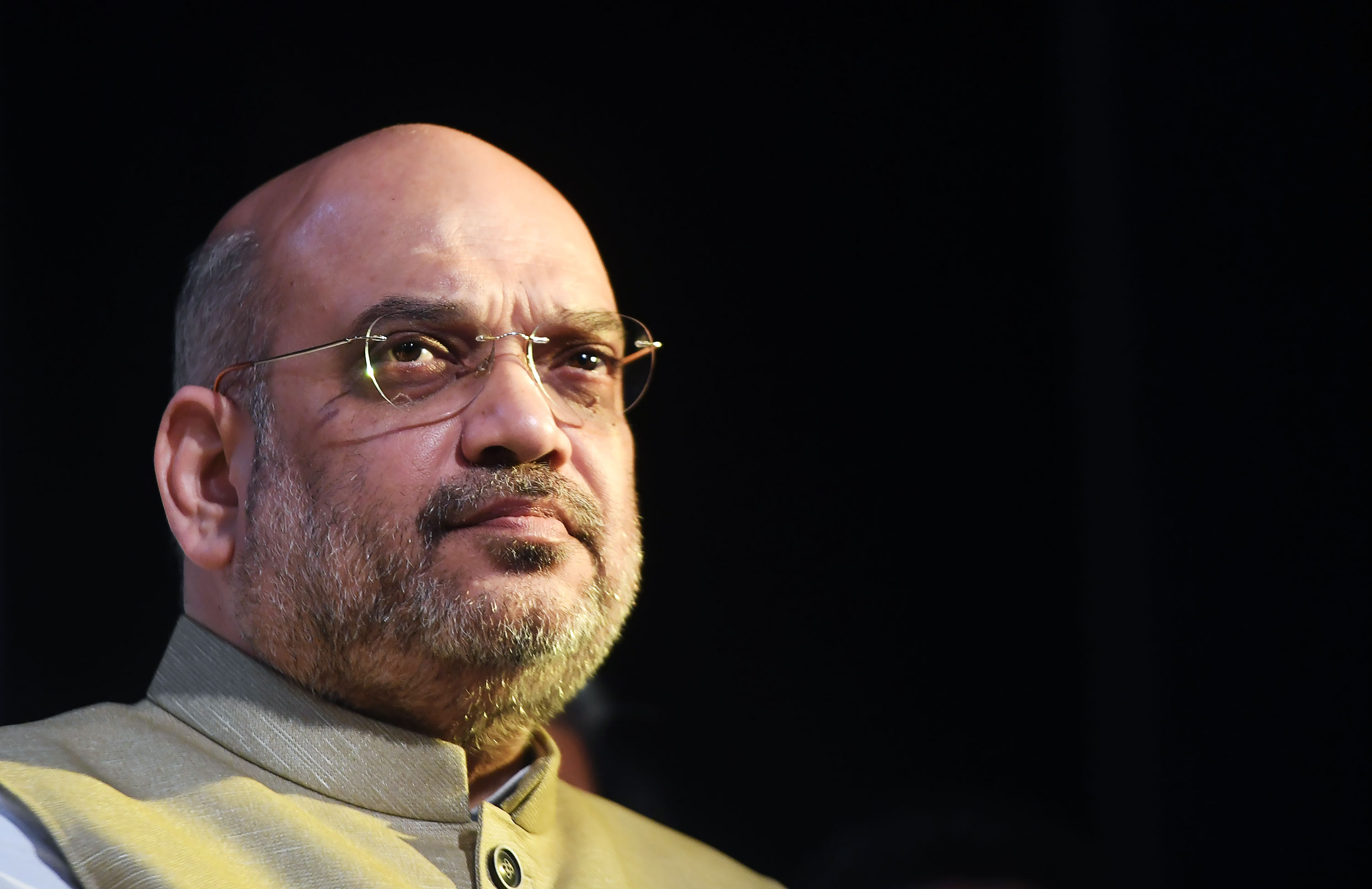 India's Minister of Home Affairs Amit Shah attends a meeting in Kolkata, India, in 2018.