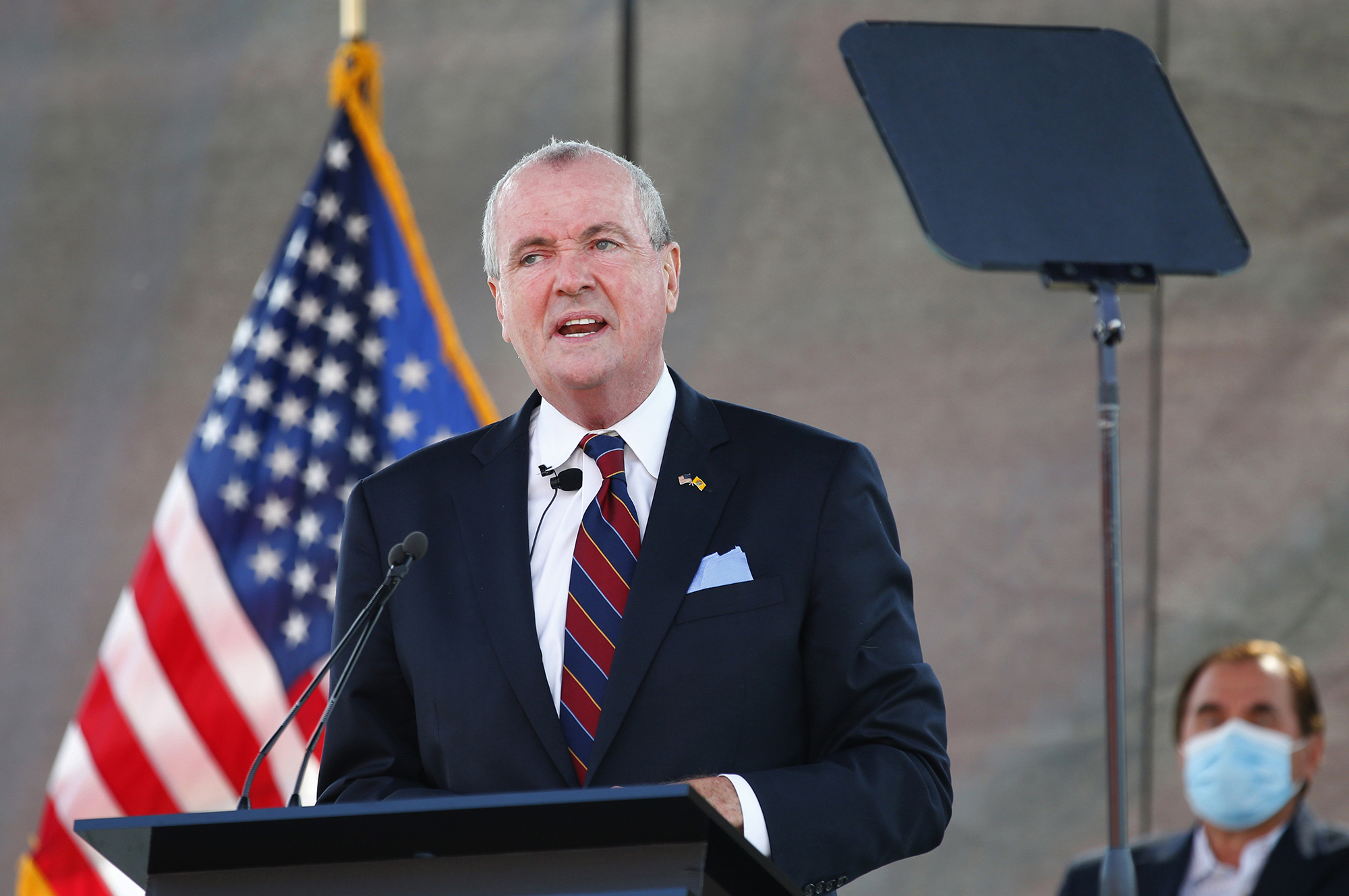In this Aug. 25, 2020, file photo, New Jersey Gov. Phil Murphy speaks during his 2021 budget address at SHI Stadium at Rutgers University in Piscataway, New Jersey.