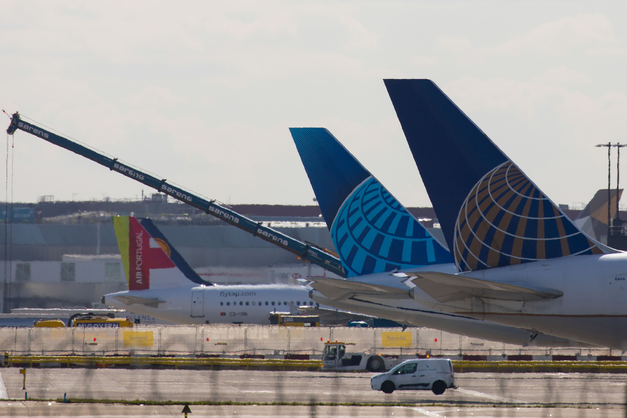 United Airlines airplanes sit on the tarmac at London Heathrow Airport in London on March 16.