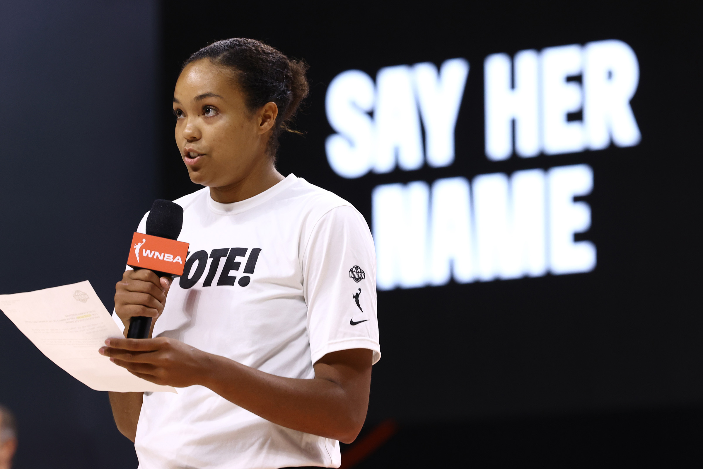 Napheesa Collier of the Minnesota Lynx gives a speech before Game 2 of the semifinals of the 2020 WNBA Playoffs on September 24, at the Feld Entertainment Center in Palmetto, Florida.