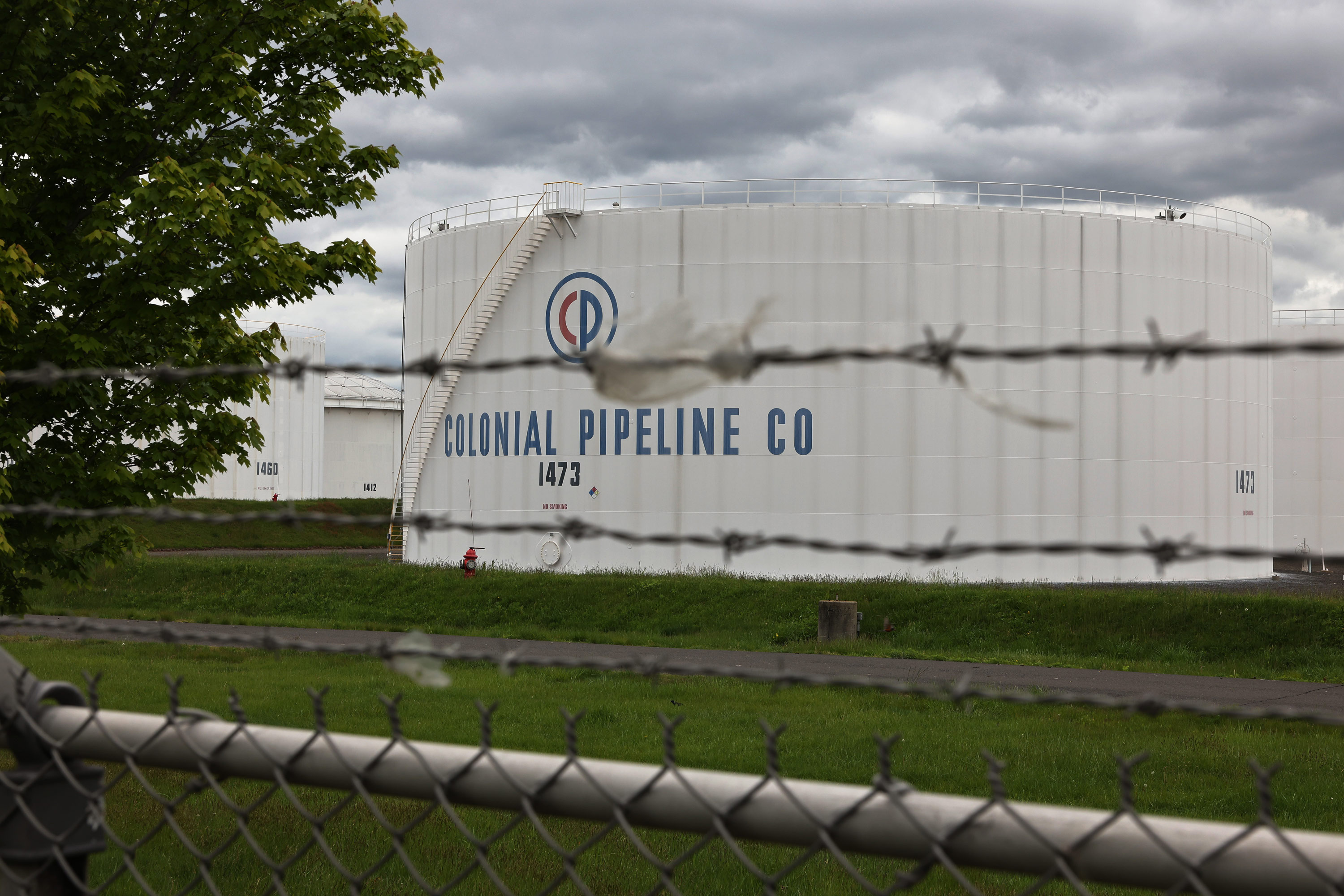Fuel holding tanks are seen at Colonial Pipeline's Linden Junction Tank Farm on May 10 in Woodbridge, New Jersey.