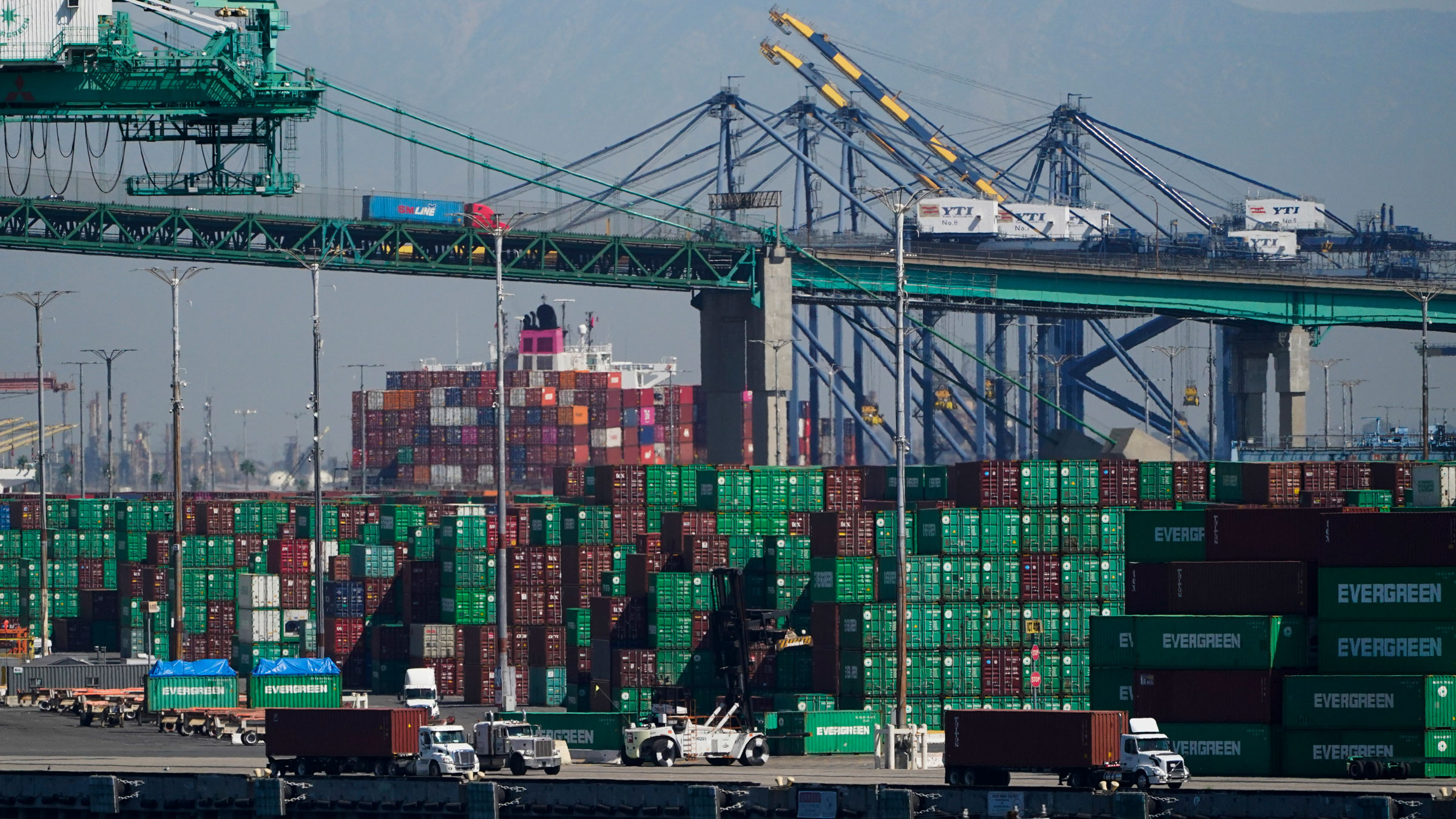 Containers are stacked at the Port of Los Angeles on October 1.