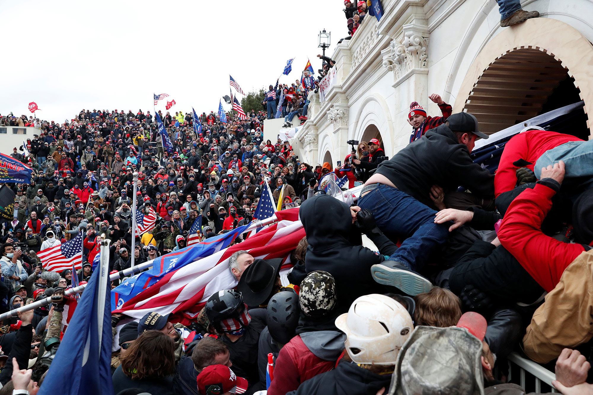 Pro-Donald Trump rioters storm the Capitol during clashes with police on January 6.