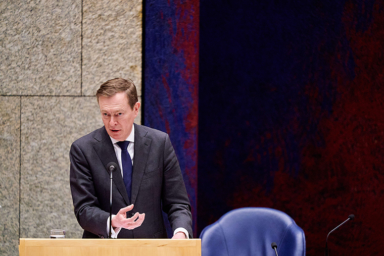 Dutch Minister Bruno Bruins speaks during a debate about the developments surrounding the coronavirus, in The Hague, the Netherlands, on Wednesday, March 18.