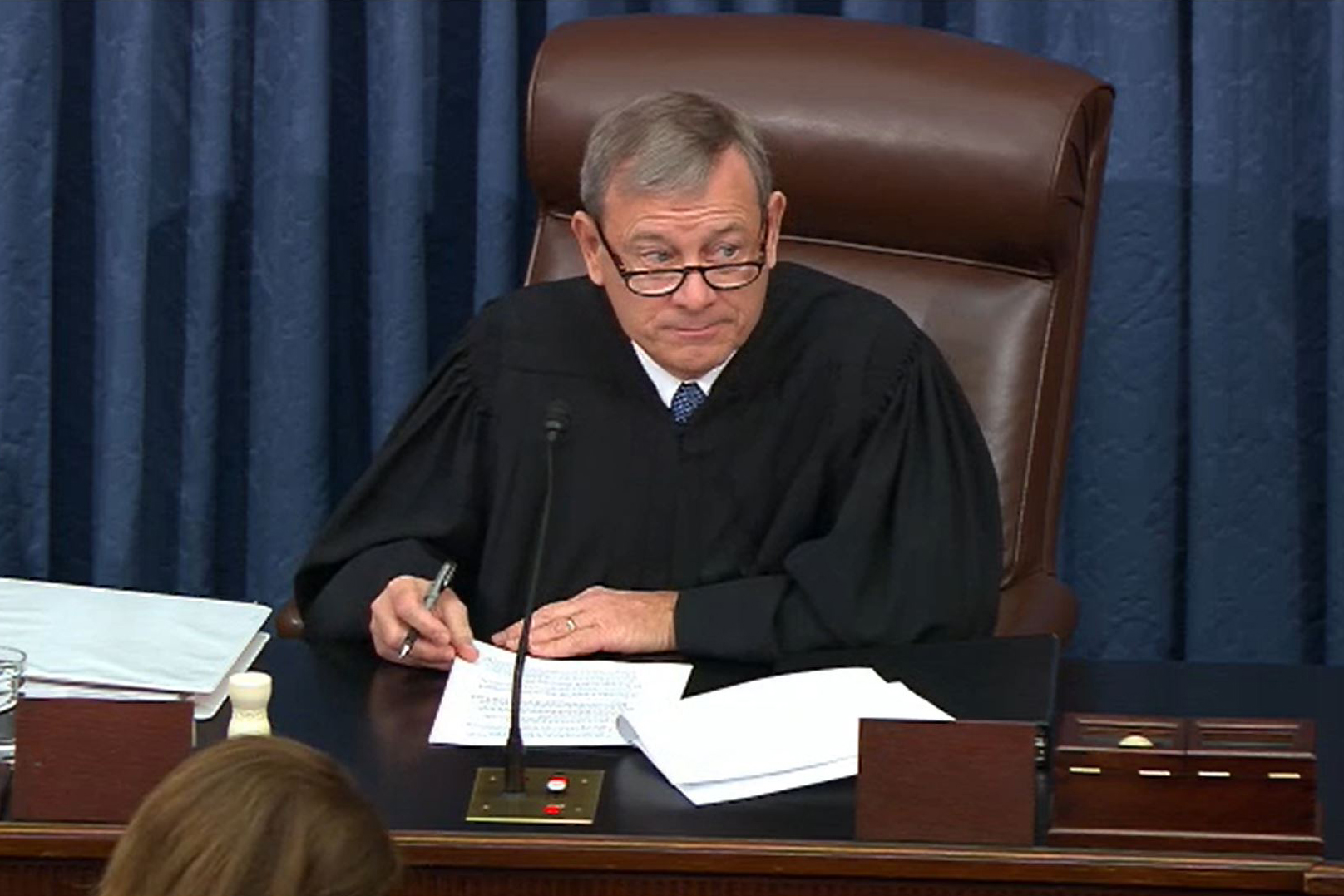 Justice Roberts presides over the Senate trial on January 21.