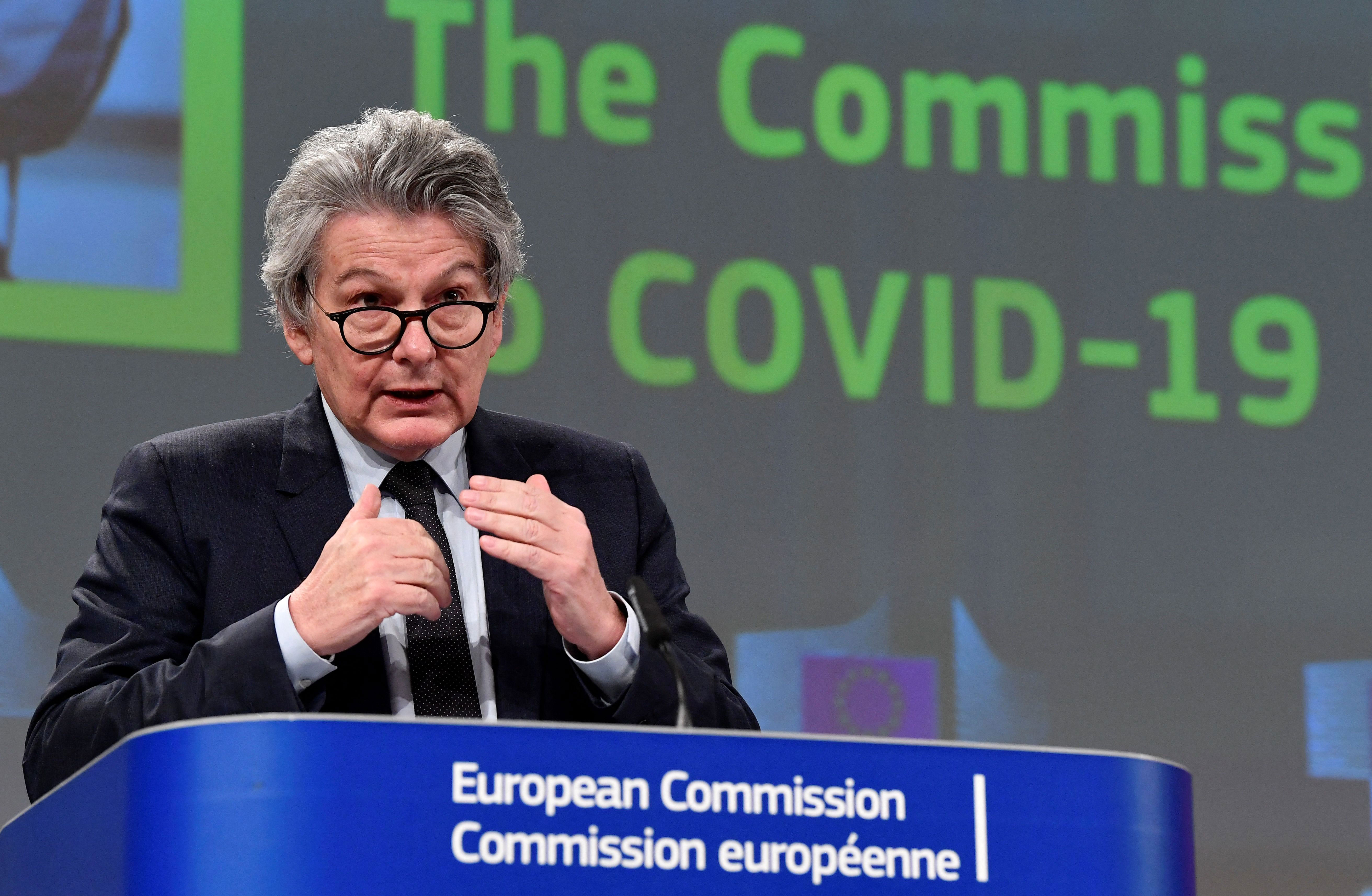 The European Union's vaccine chief Thierry Breton speaks during a press conference in Brussels, Belgium, on March 17.