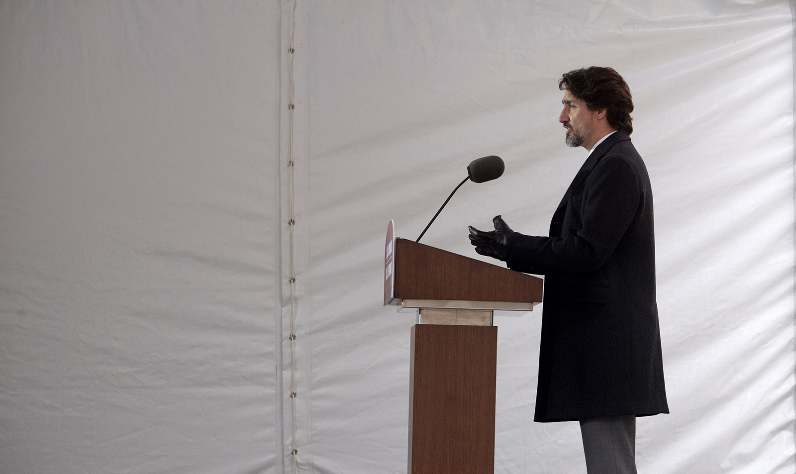 Canadian Prime Minister Justin Trudeau speaks to the media during a daily briefing during the coronavirus pandemic outside Rideau Cottage in Ottawa, Ontario, on Friday May 8.
