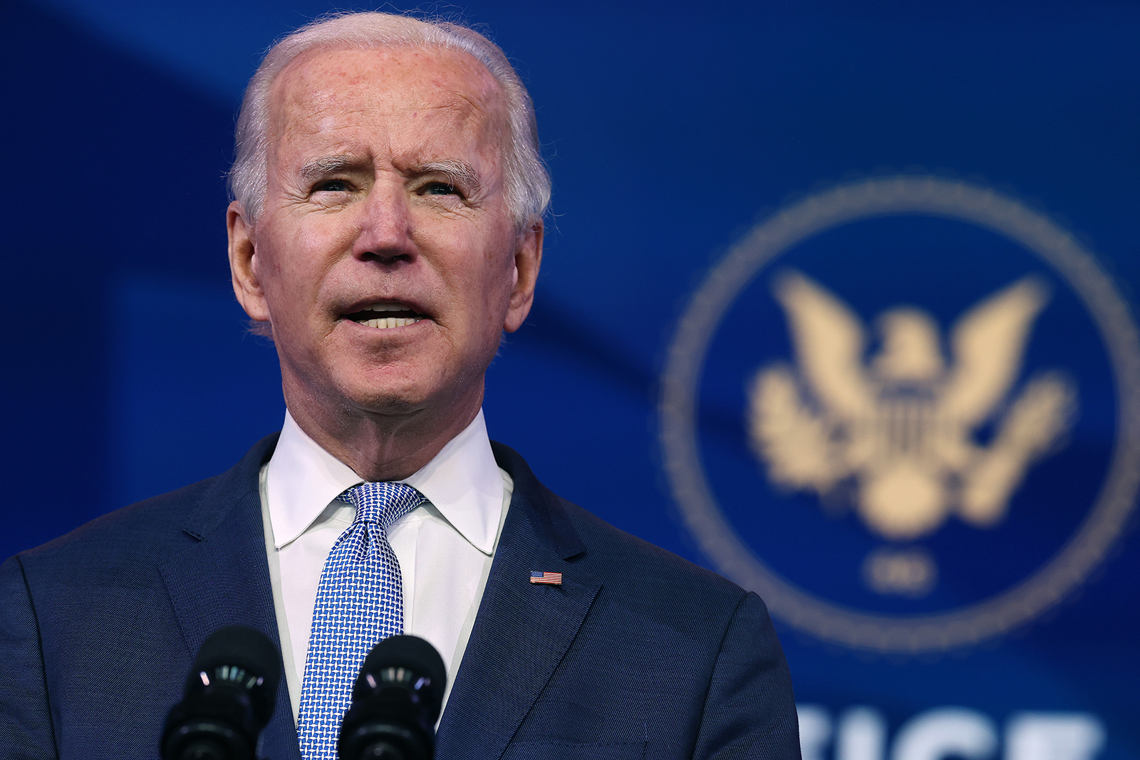 US President-elect Joe Biden delivers remarks about the storming of the US Capitol by a pro-Trump mob at The Queen theater in Wilmington, Delaware, on January 6.
