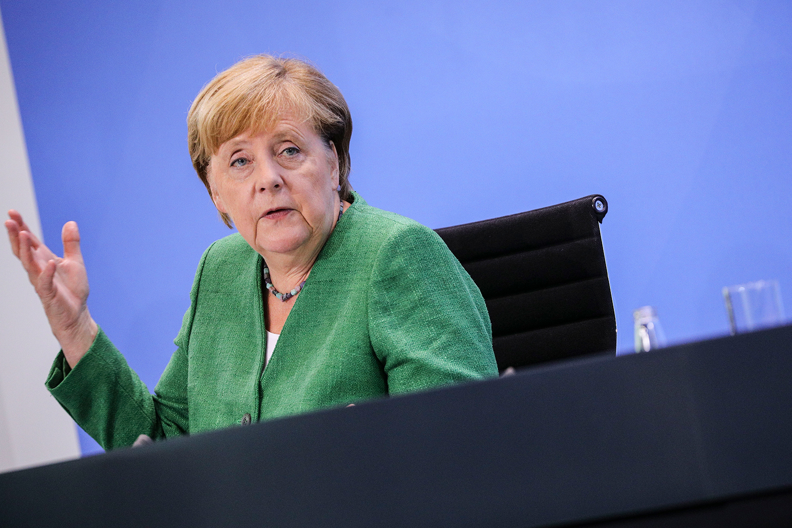 German Chancellor Angela Merkel speaks to the media following a virtual meeting with governors of Germany's 16 states at the Chancellery during the coronavirus pandemic in Berlin, on August 27