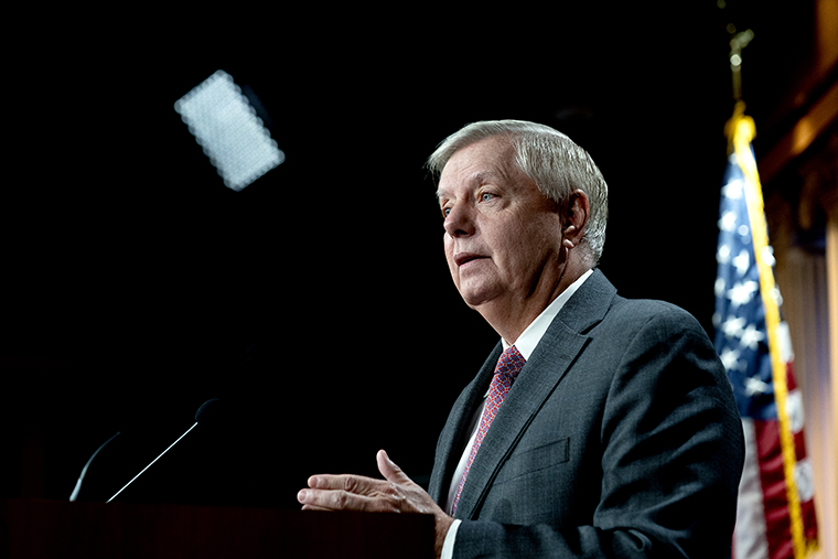 Senator Lindsey Graham, a Republican from South Carolina, speaks during a news conference at the U.S. Capitol in Washington, D.C., U.S., on Friday, July 30, 2021.