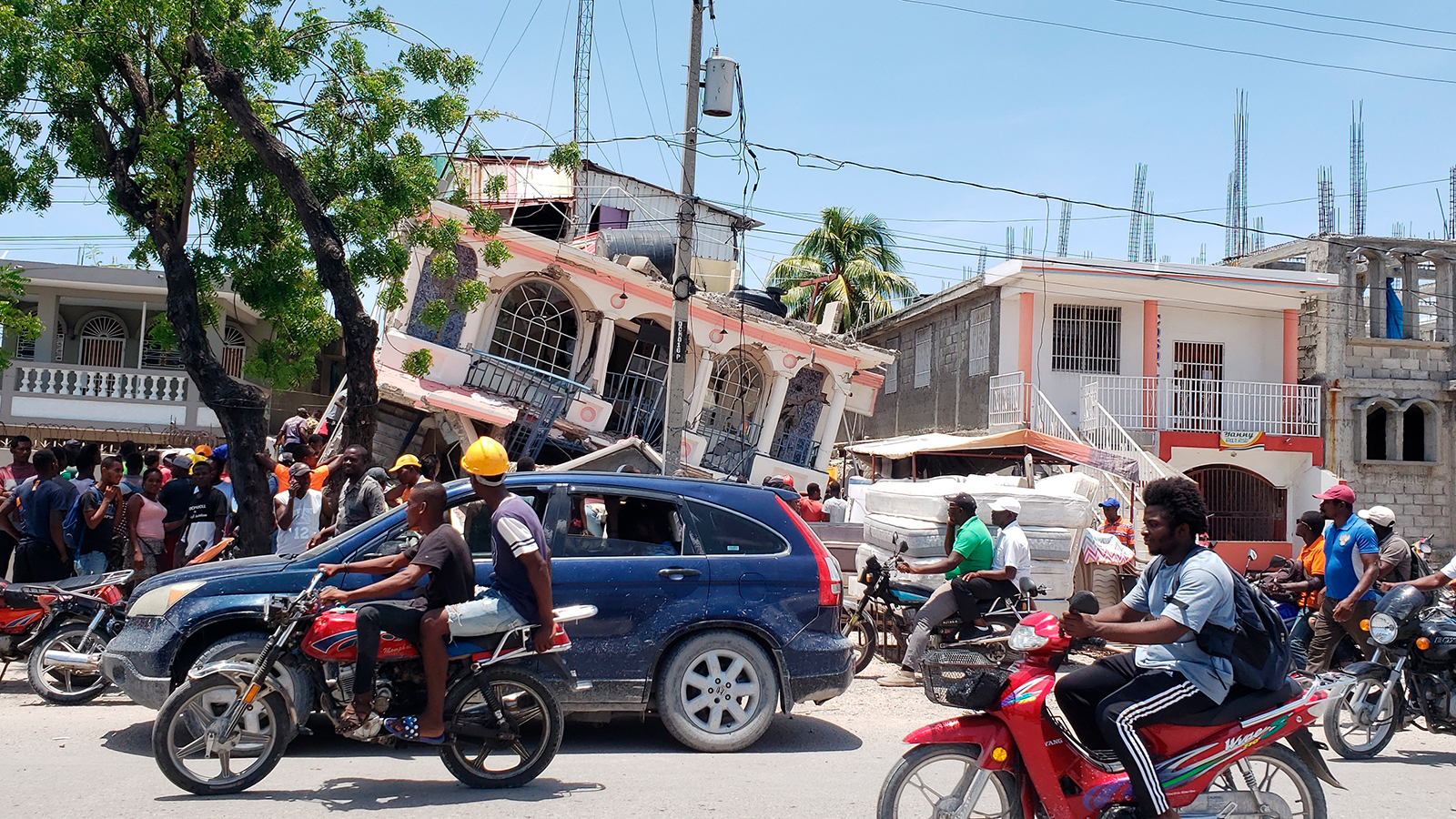 Petit Pas Hotel is shown damaged after an earthquake in Les Cayes, Haiti, on August 14.